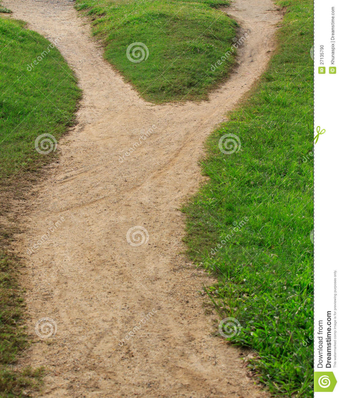 Soil trail and green grass separated two way stock photo for Soil and green
