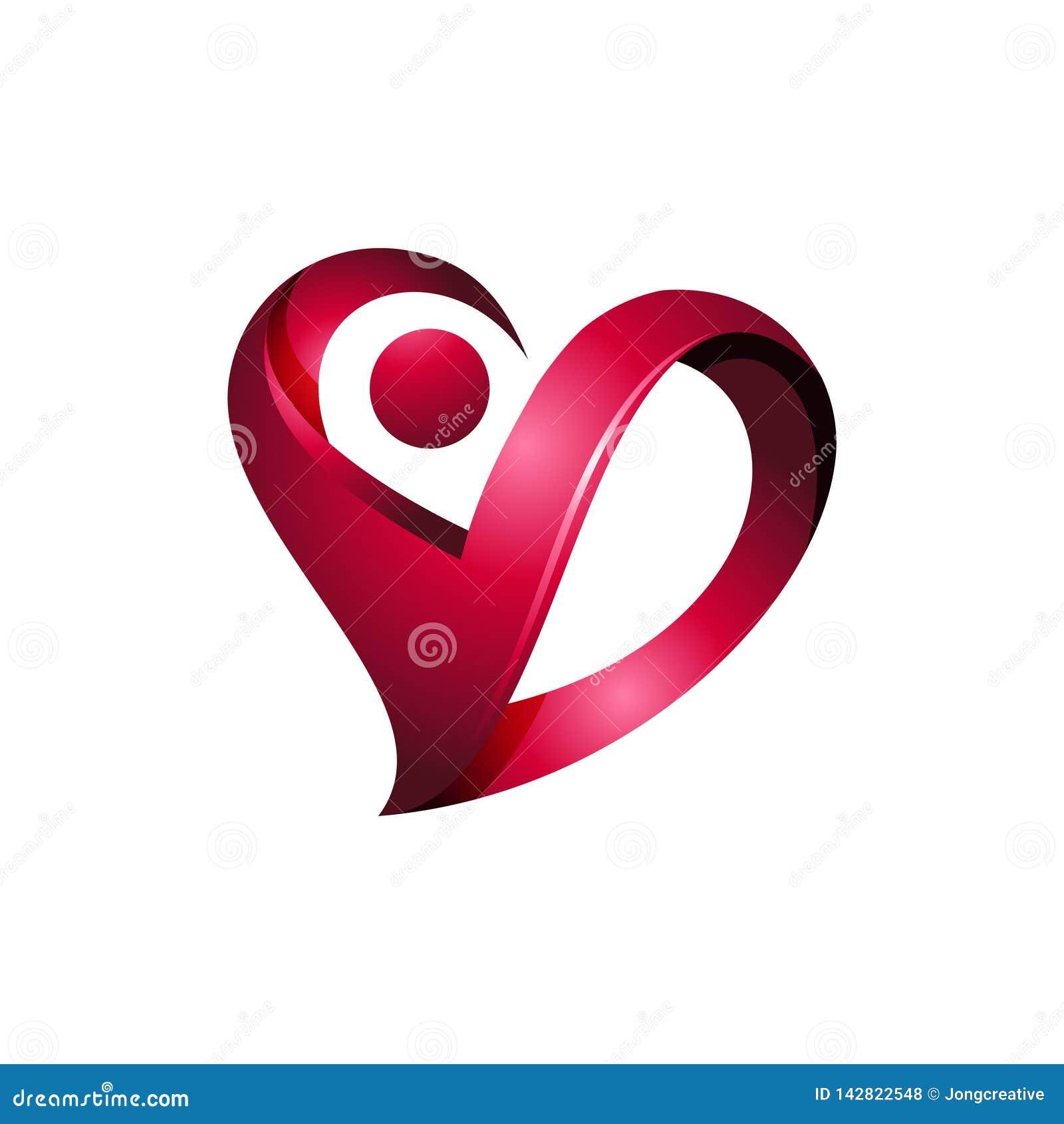 Soins de santé de luxe Logo Icon de coeur de l esprit 3D