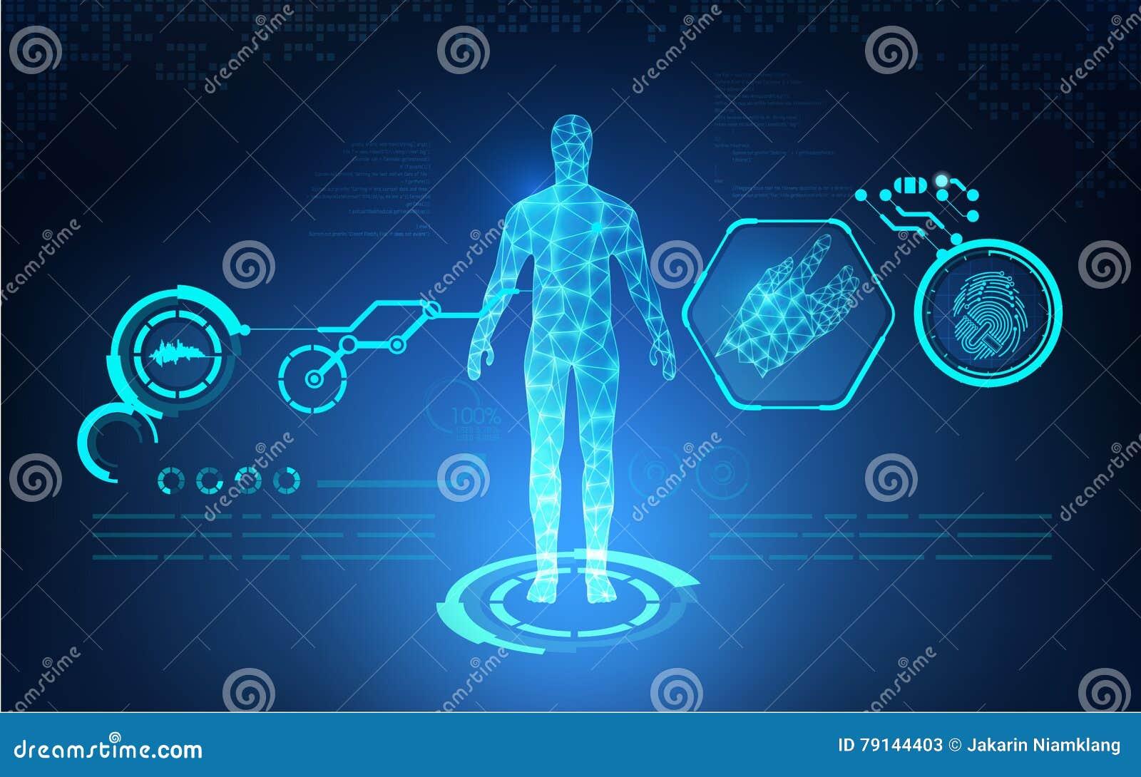 Soins de santé technologiques abstraits d AI ; croquis de mise au point de la science ; interface scientifique ; contexte futuris