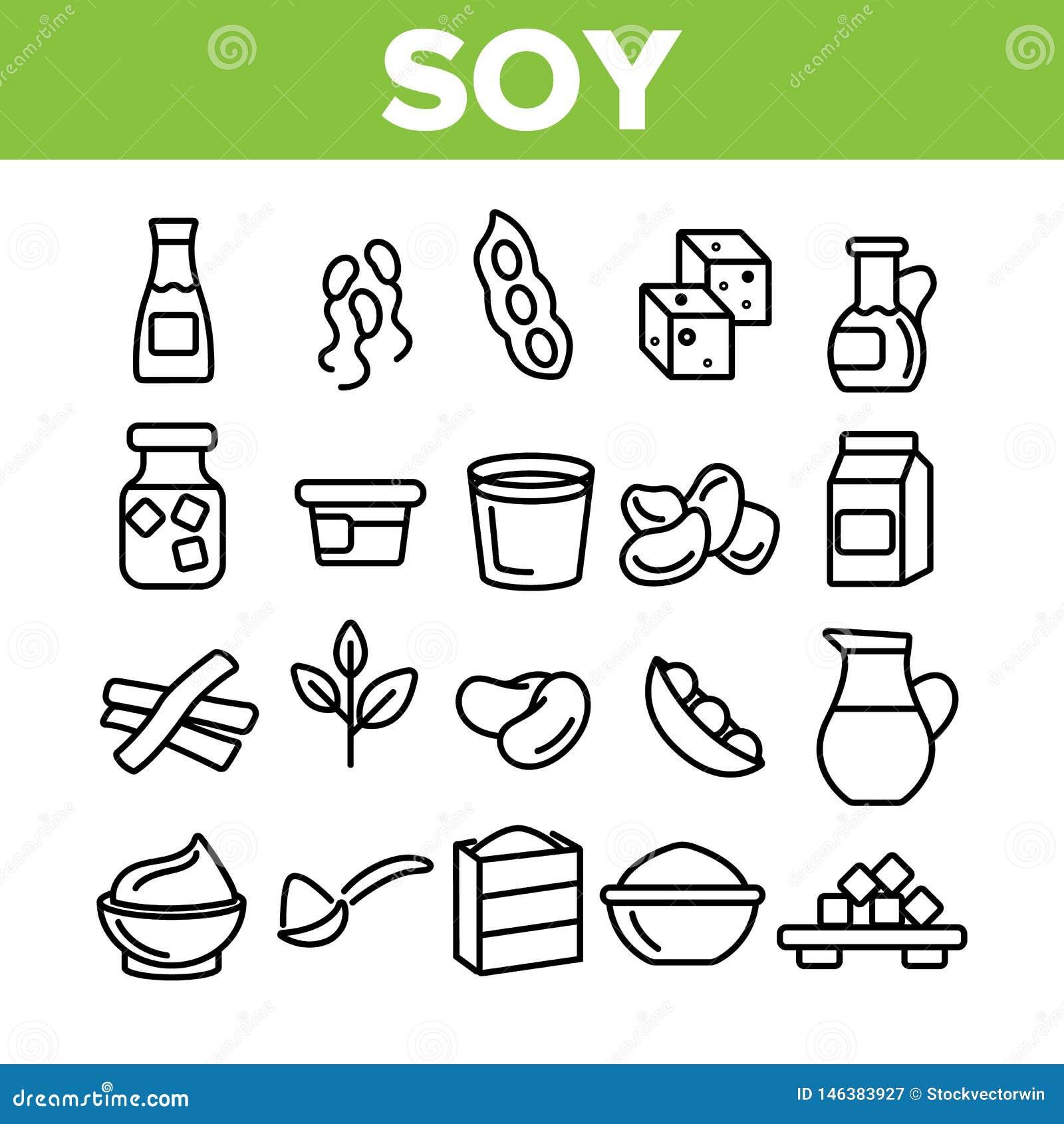 Sojaproducten, Geplaatste Voedsel Lineaire Vectorpictogrammen