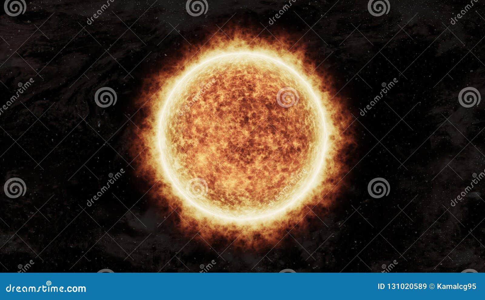 Sol alaranjado brilhante e quente no espaço