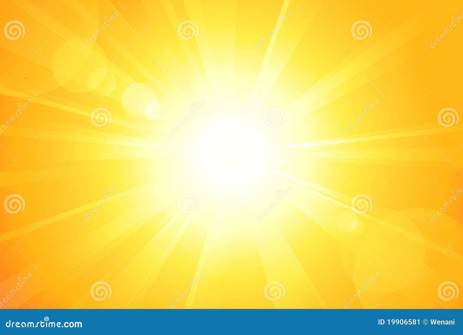Sol brillante con la flama de la lente