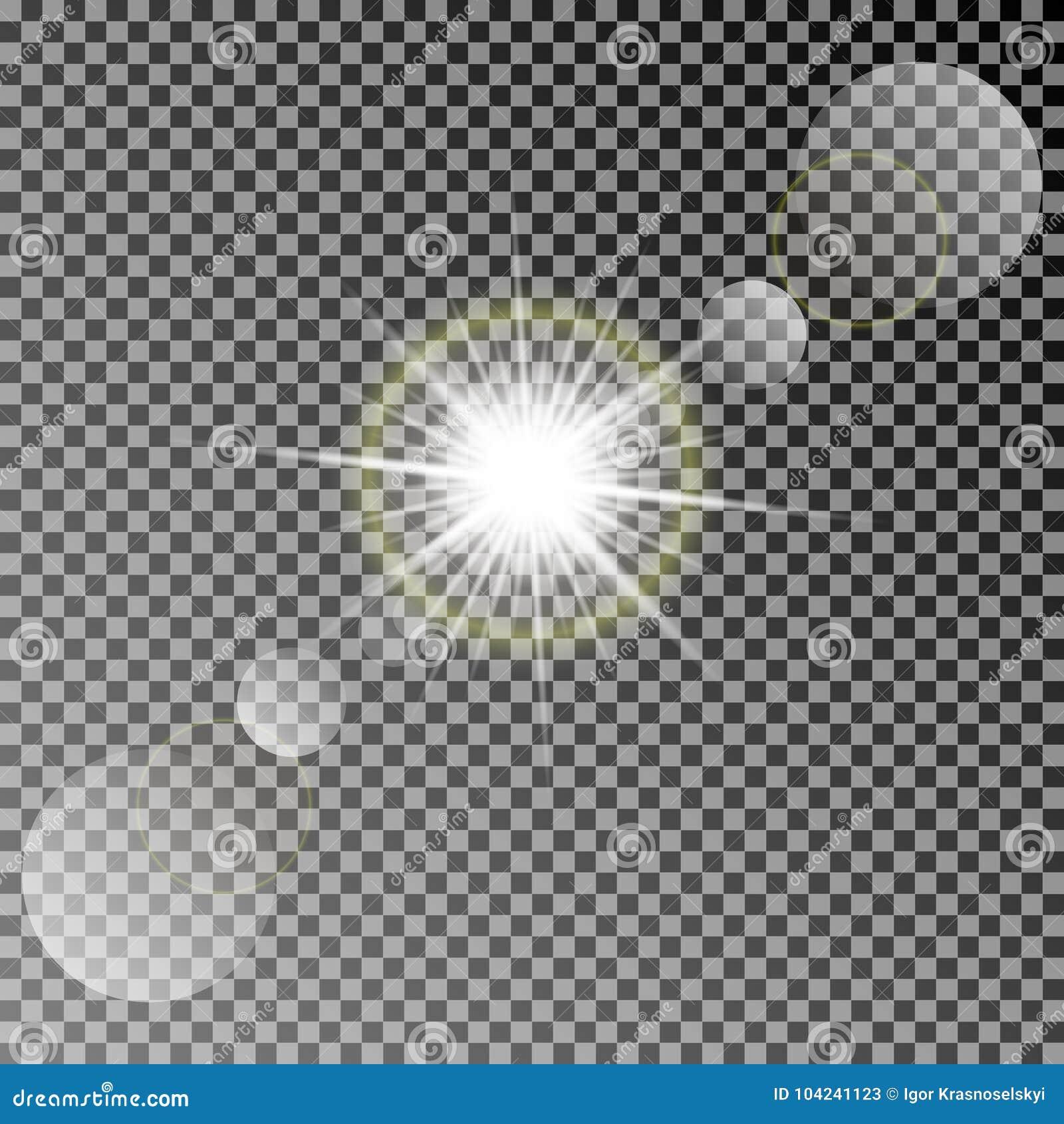Sol brillante del vector con efectos luminosos coloridos Luz transparente del sol del vector con el bokeh aislado en fondo oscuro