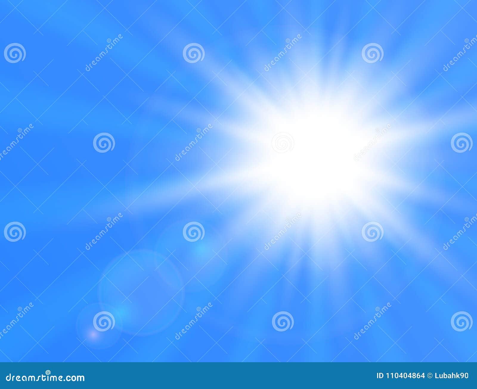 Sol brillante realista en fondo azul Sun con la flama de la lente Ilustración del vector