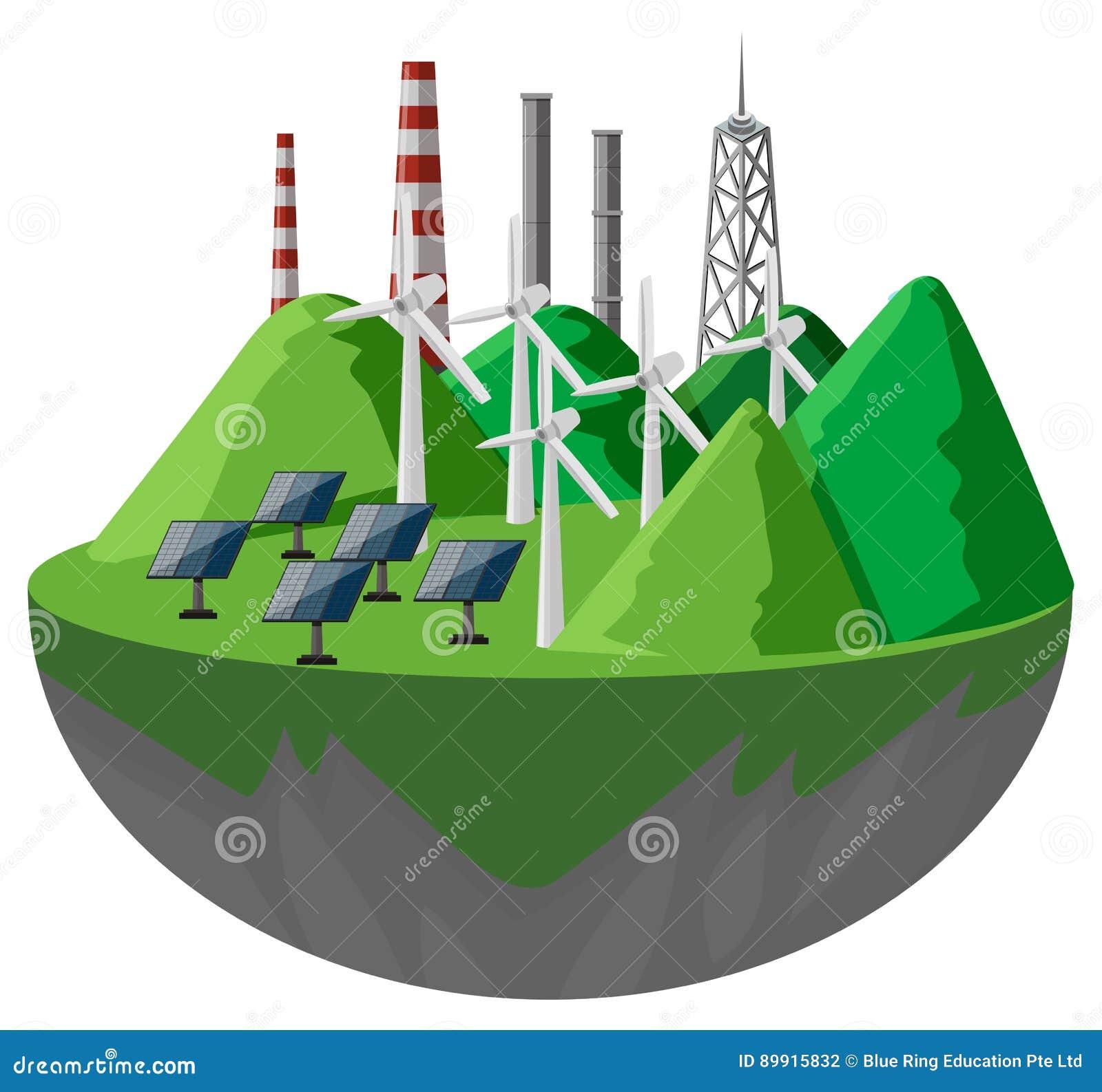 Sol- celler och turbiner i bergen