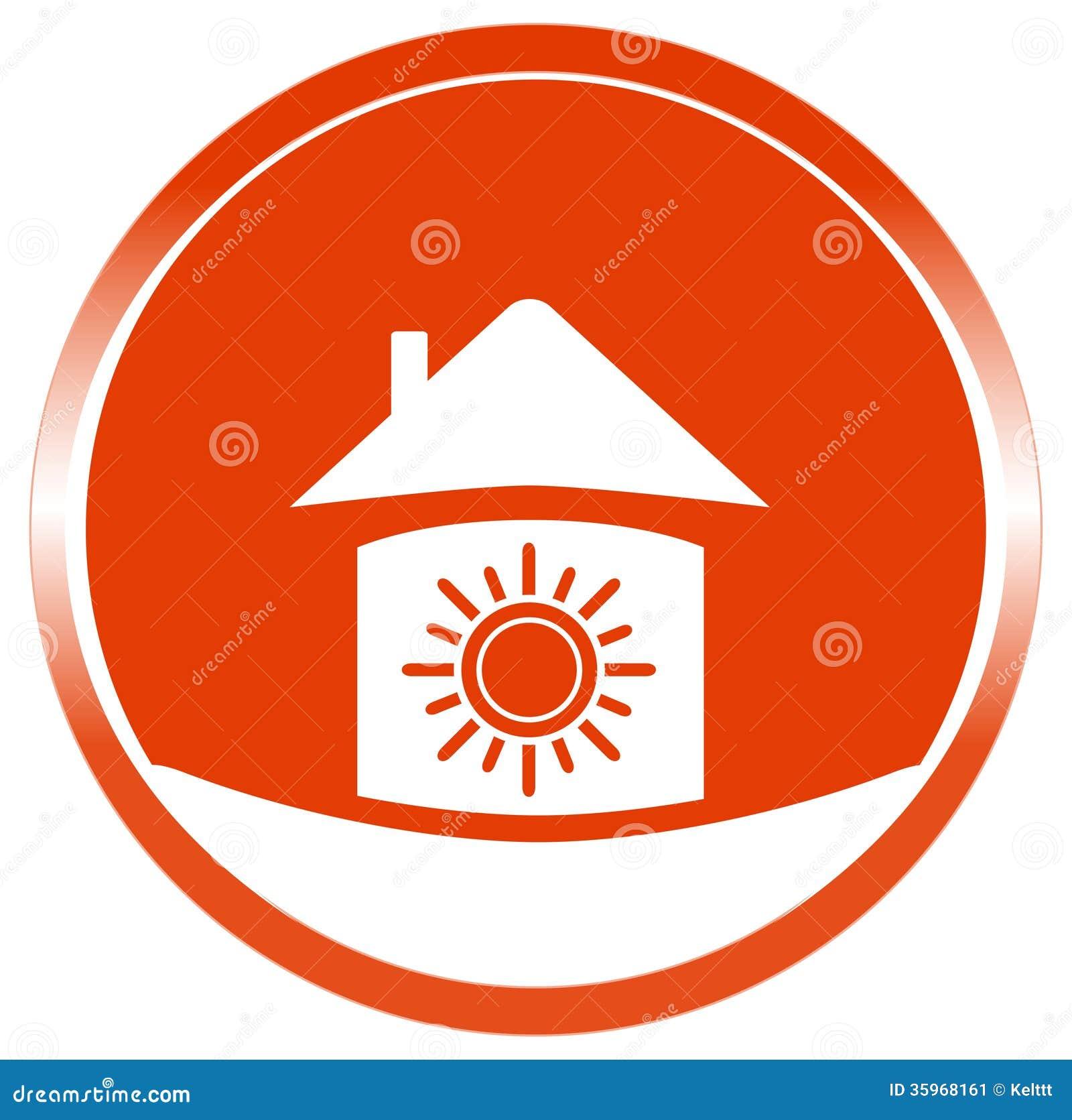 Sol del botón en hogar