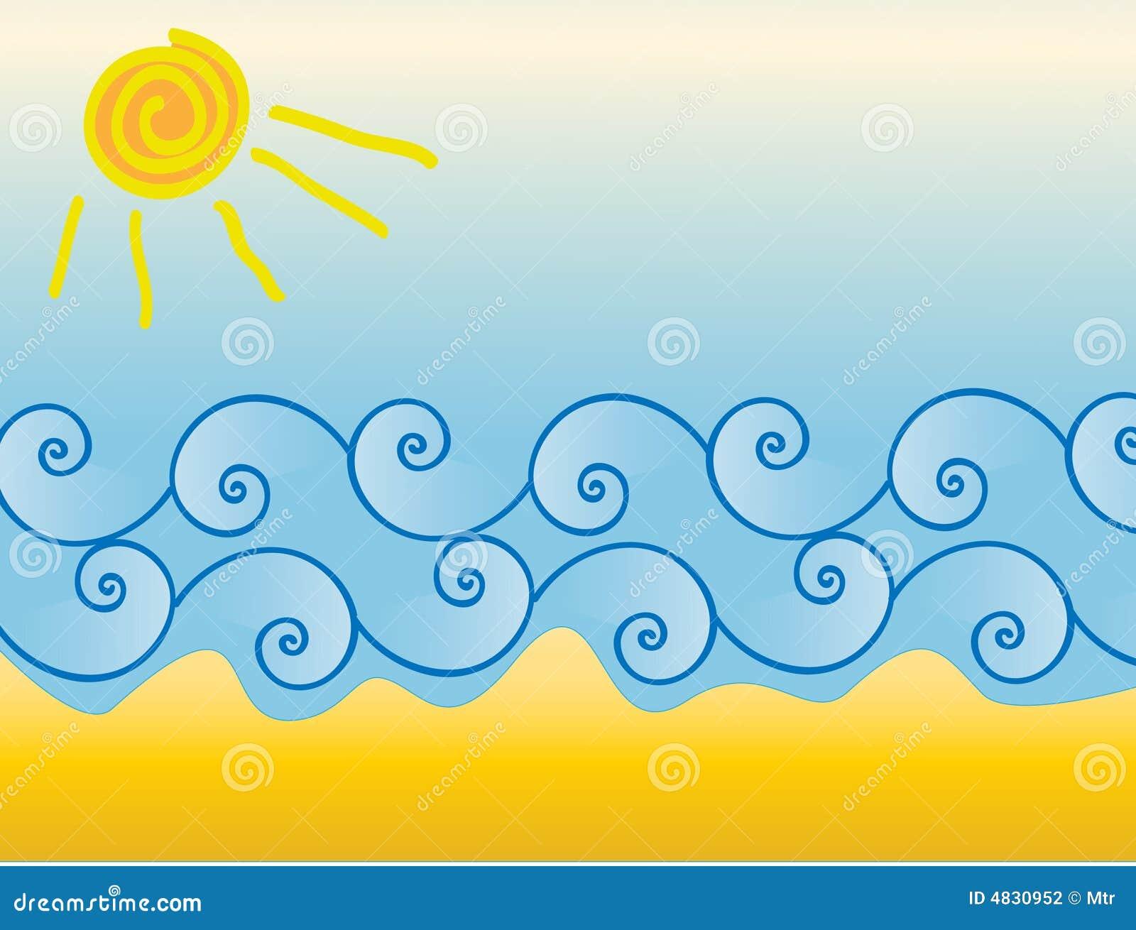 Sol e areia da onda do mar