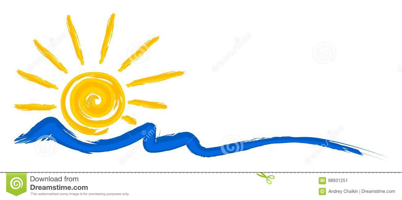 Sol e mar do logotipo