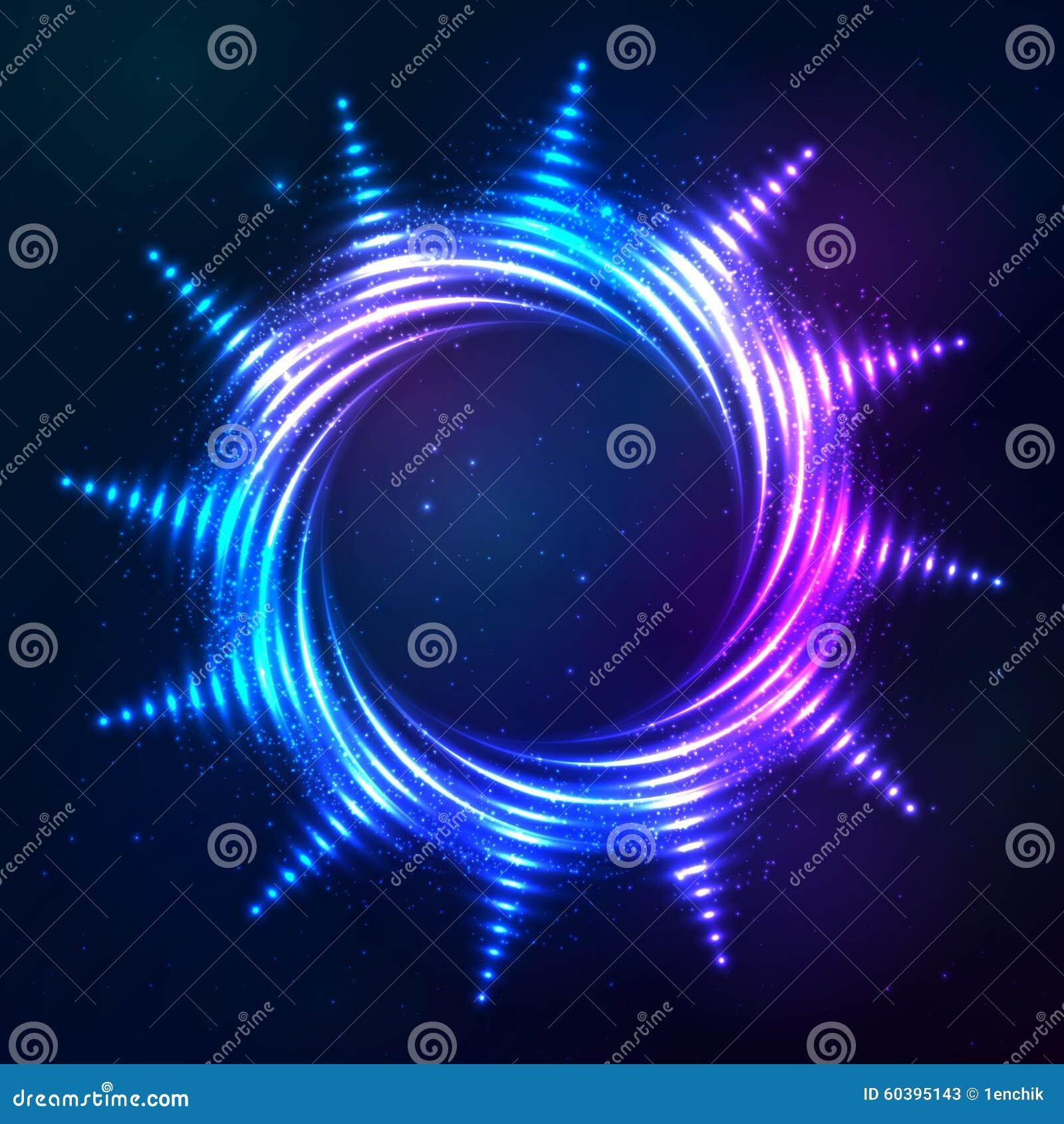 Sol espiral de neón azul brillante brillante en cósmico oscuro