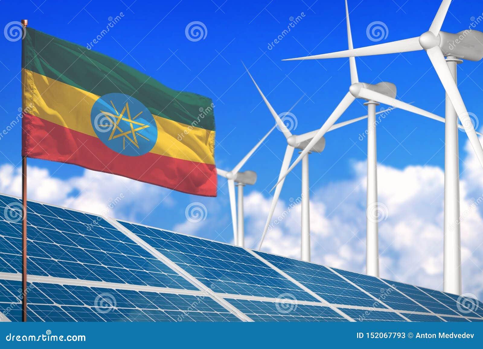 Sol- Etiopien och vindenergi, förnybara energikällorbegrepp med industriella solpaneler - förnybara energikällor mot global uppvä