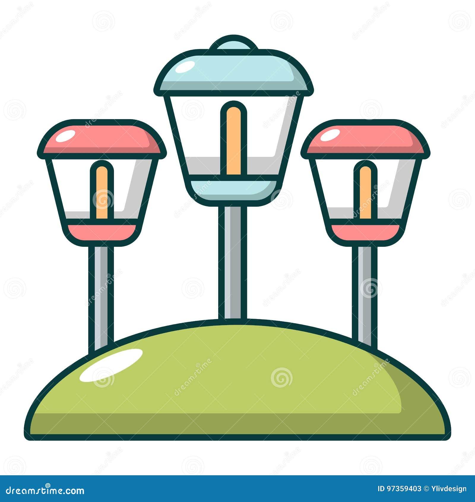 Sol- lampor trädgårds- ljus symbol, tecknad filmstil