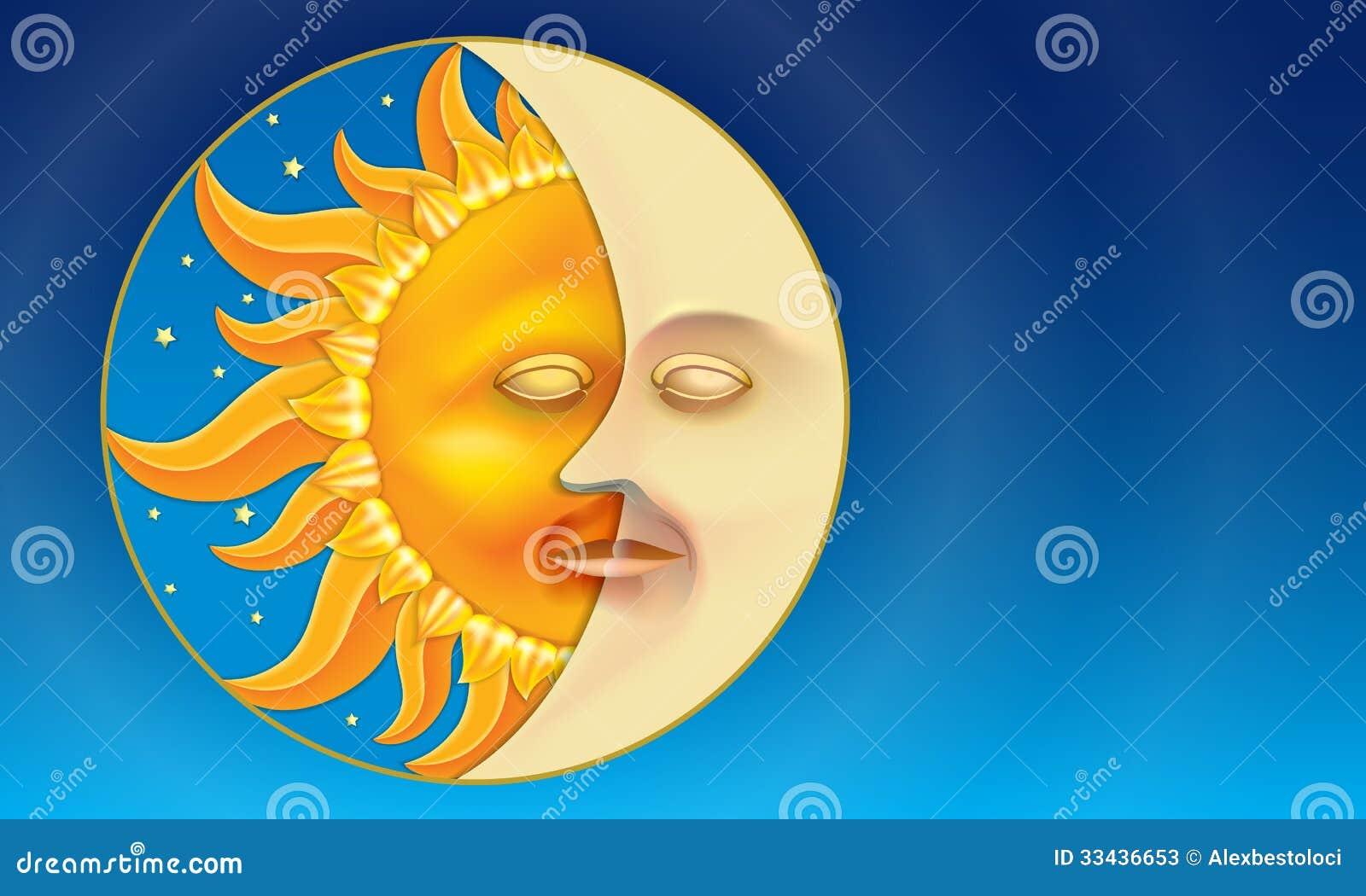 Sol och måne (dygnet runt) i låg-lättnad stil.