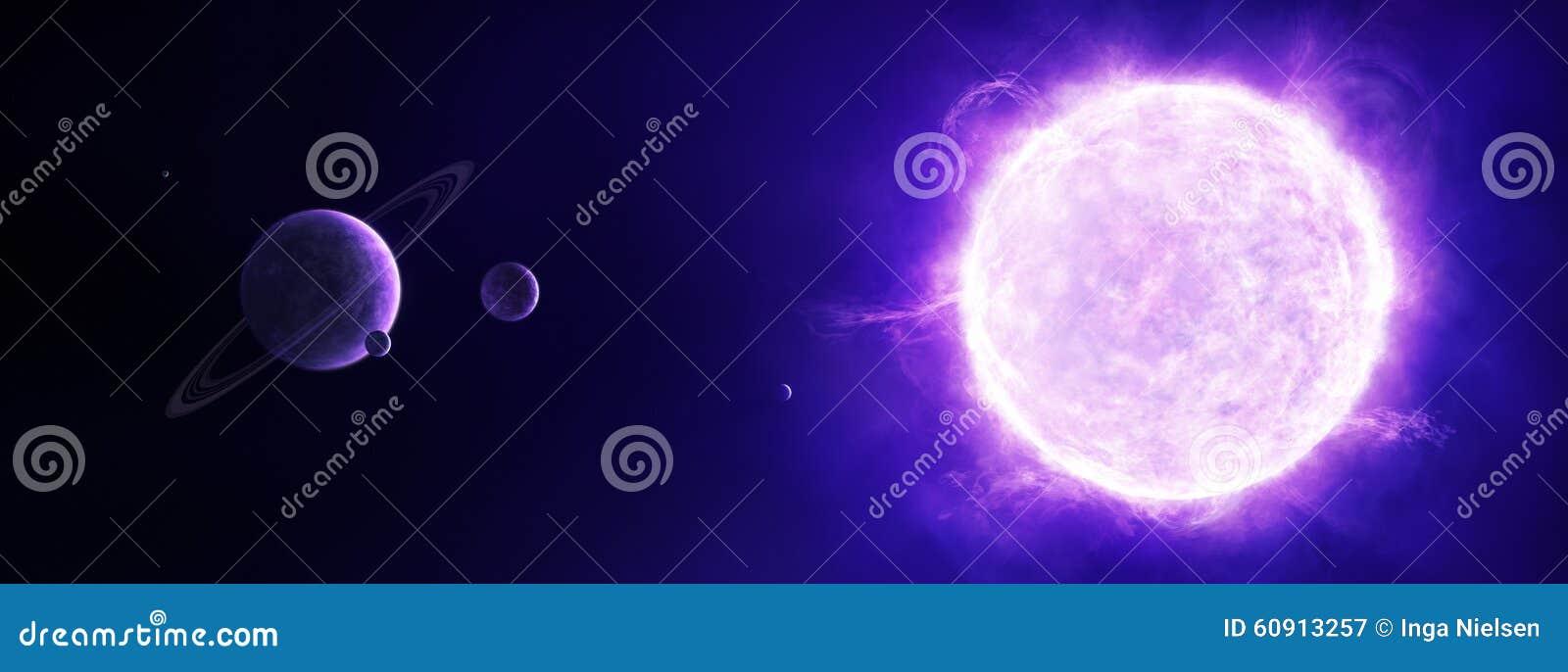 Sol púrpura en espacio con los planetas
