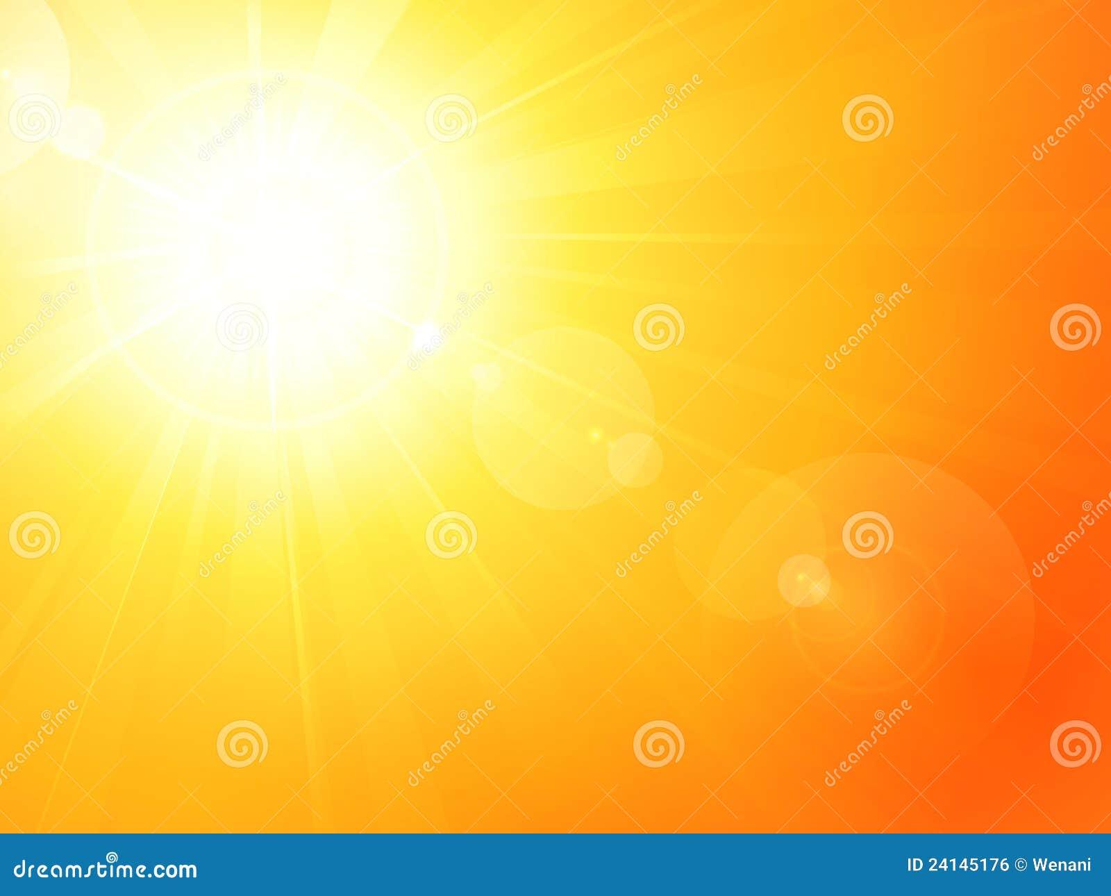 Sol quente vibrante do verão com alargamento da lente