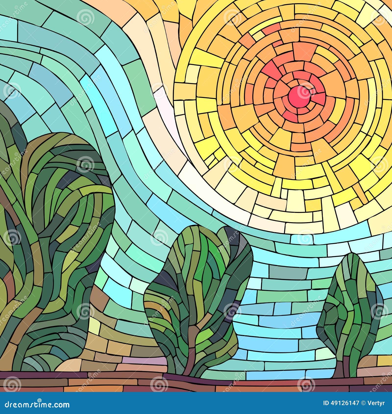 sol rojo del extracto cuadrado del mosaico con los rboles ilustraci n del vector imagen 49126147. Black Bedroom Furniture Sets. Home Design Ideas