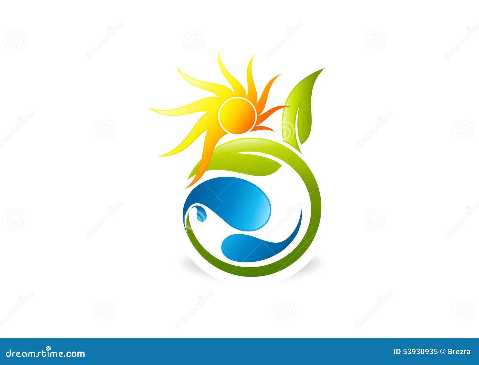 Sol, växt, folk, vatten, naturligt, logo, symbol, hälsa, blad, botanik, ekologi och symbol