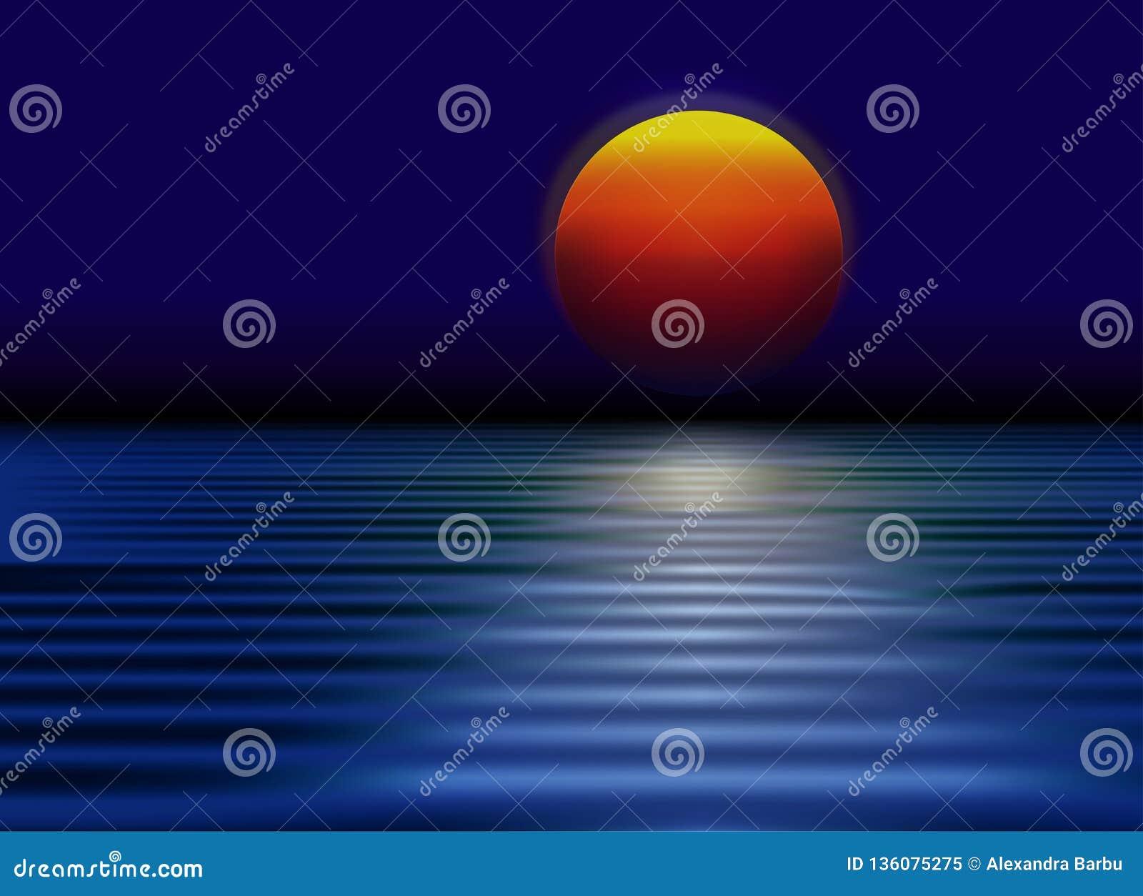 Sol vermelho, por do sol com reflexão no papel de parede da água
