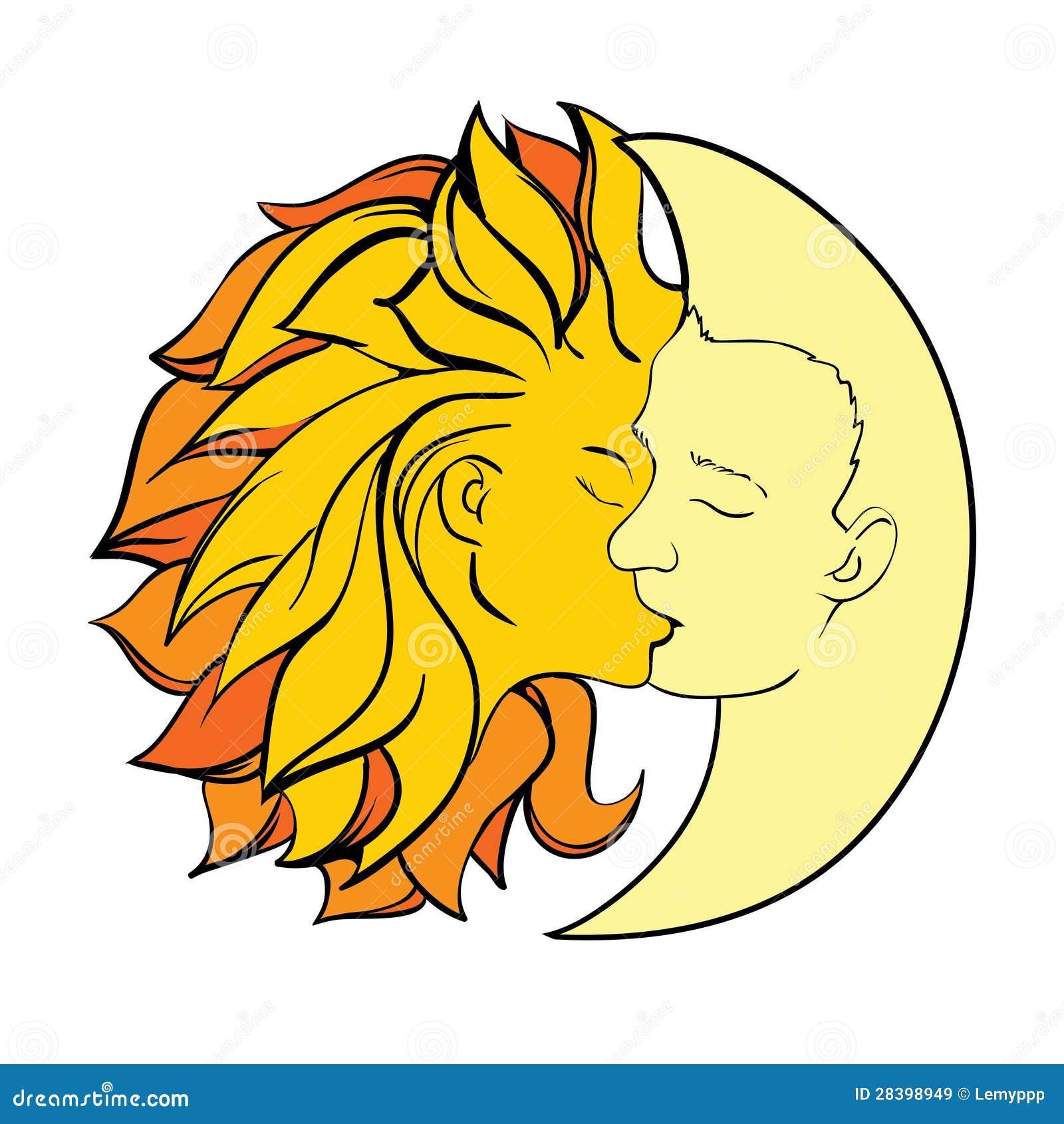 Sol Y Luna Del Beso Ilustración Del Vector Ilustración De Cuento