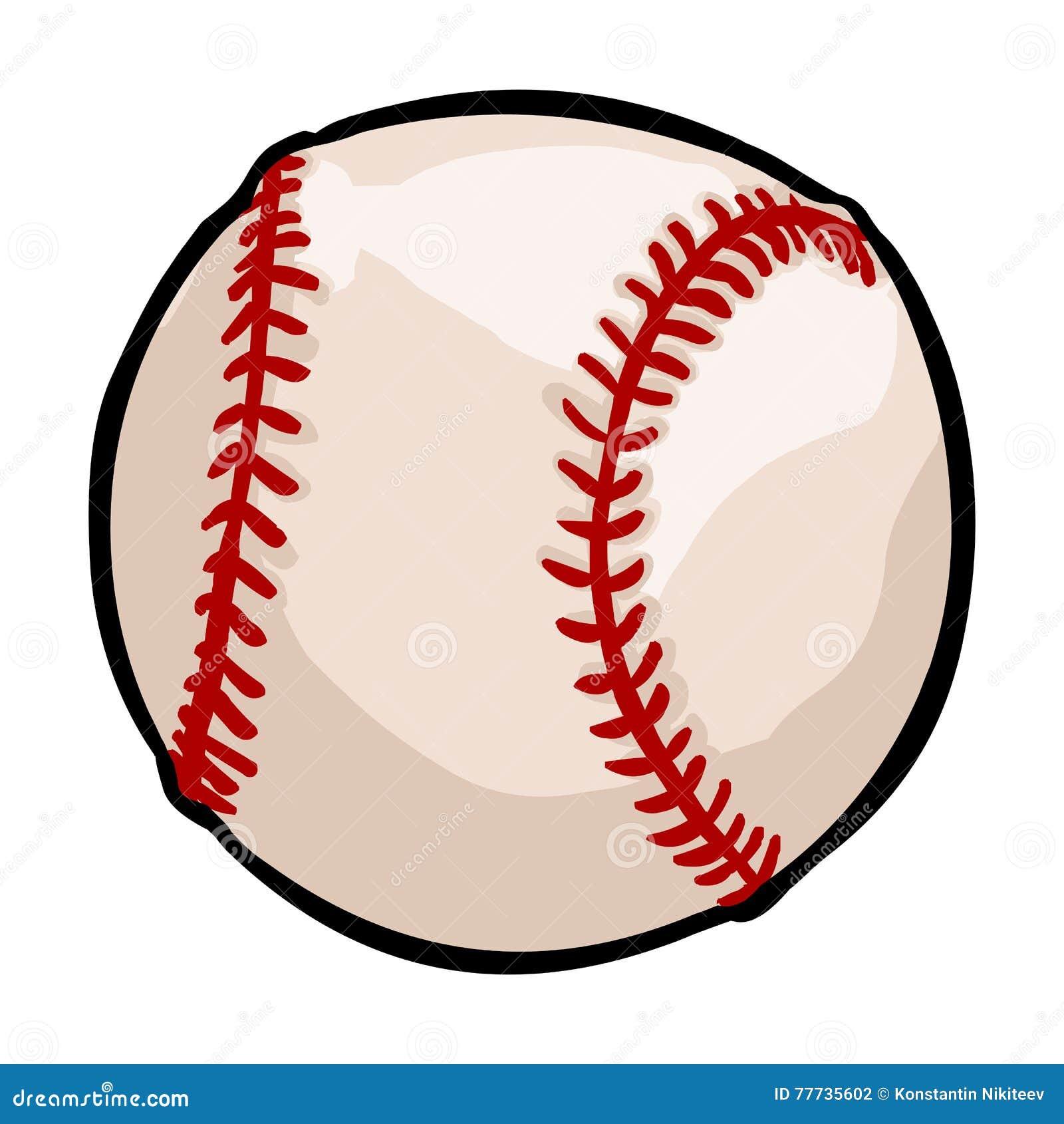 Sola bola del béisbol de la historieta del vector en el fondo blanco e7f3227ec2deb