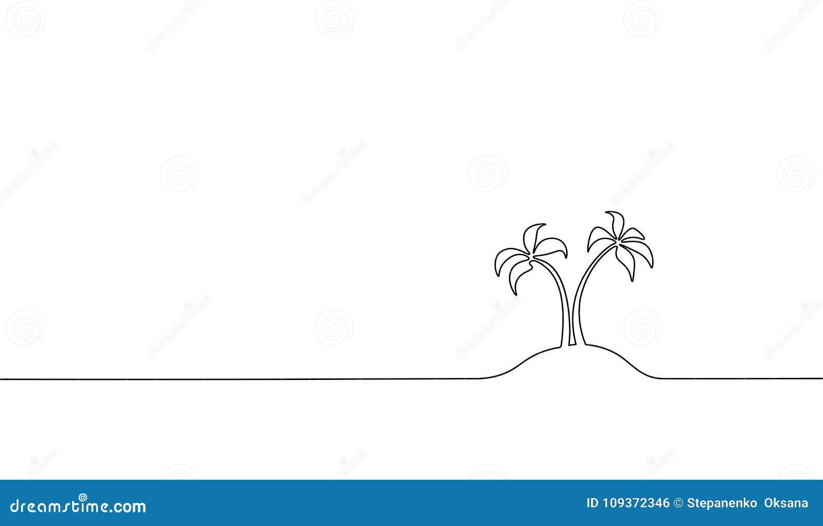 Sola Línea Continua Palma Del árbol De Coco Del Arte Vector Tropical ...