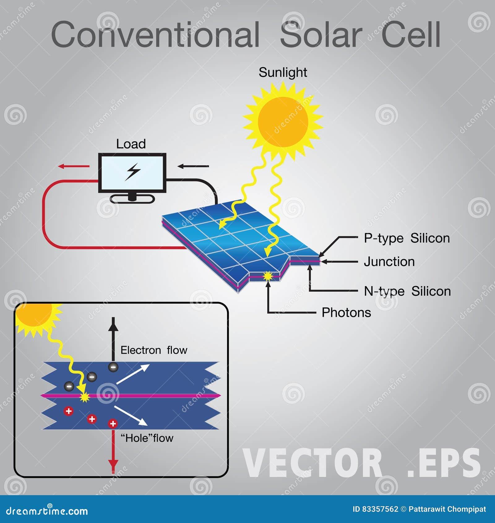 solar cell diagram education infographic vector design stock