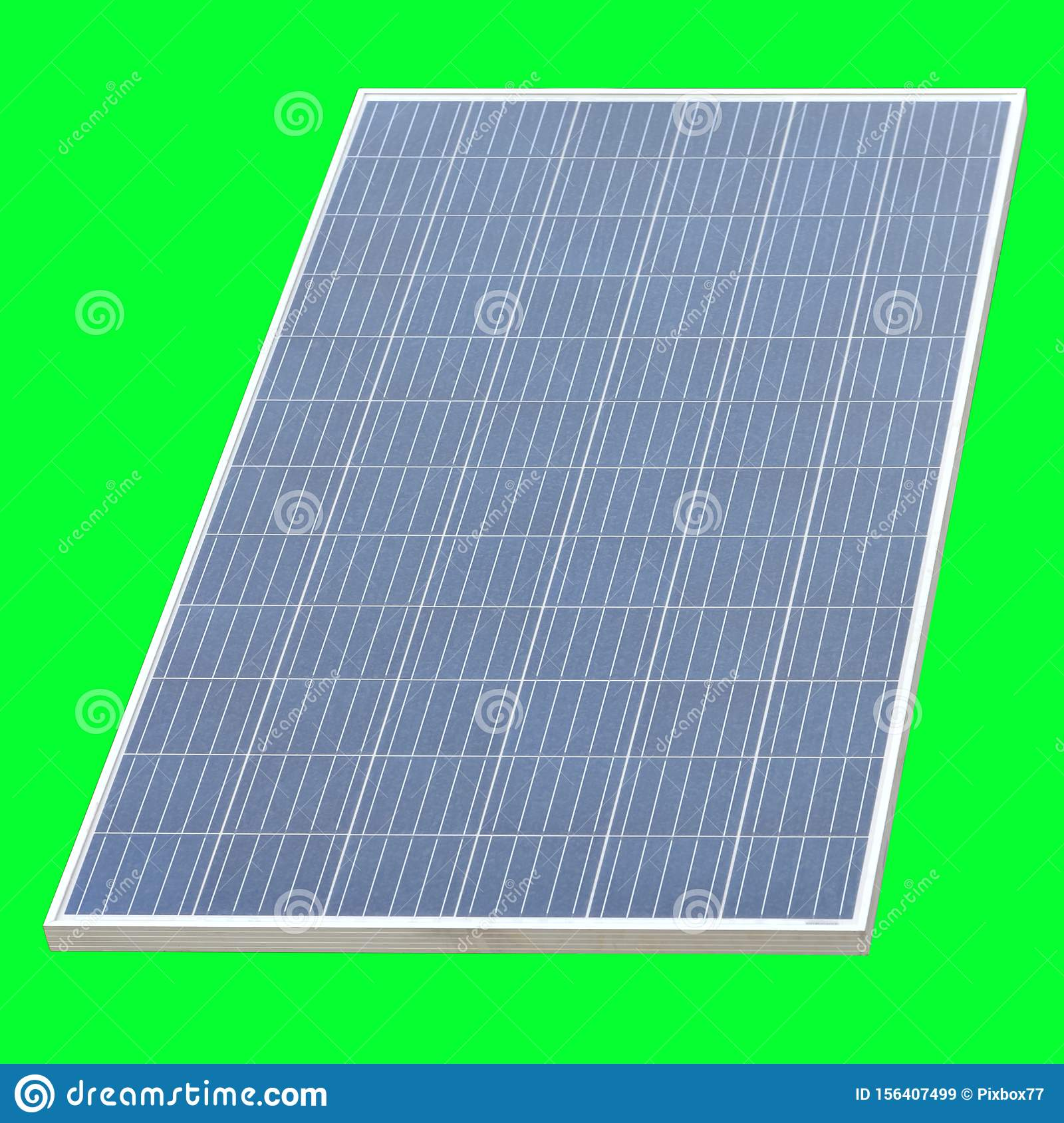 Solar cell panel isolated on green background