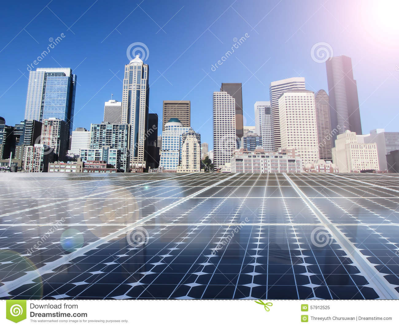 Solar Cell Power Energy Grid In City Background Stock