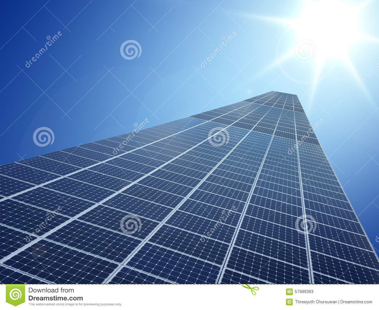 Solar cell power energy grid technology in sky background