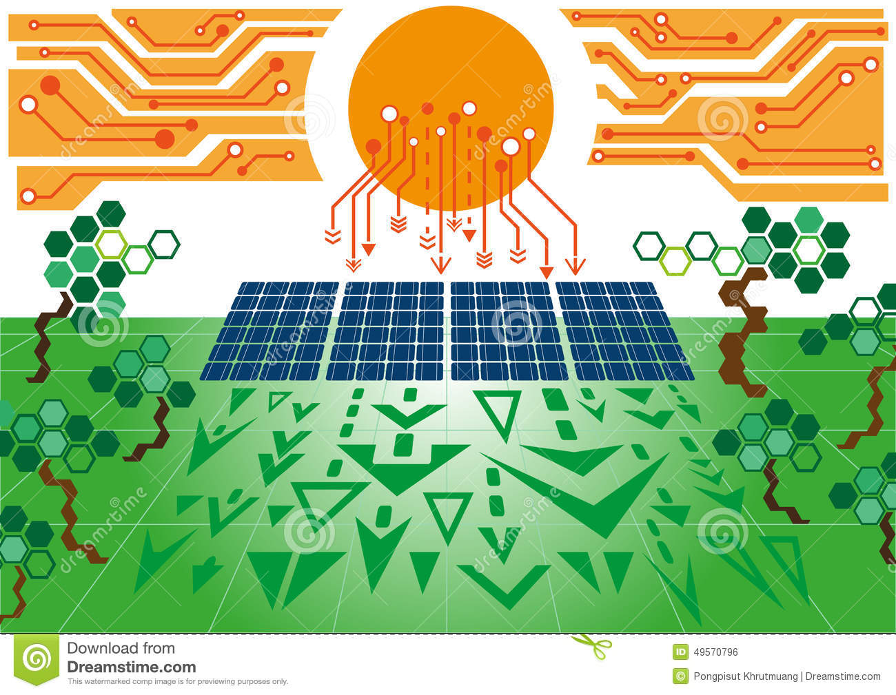Solar Cell Power Plant02 Stock Vector Illustration Of Generating Electricity Diagram
