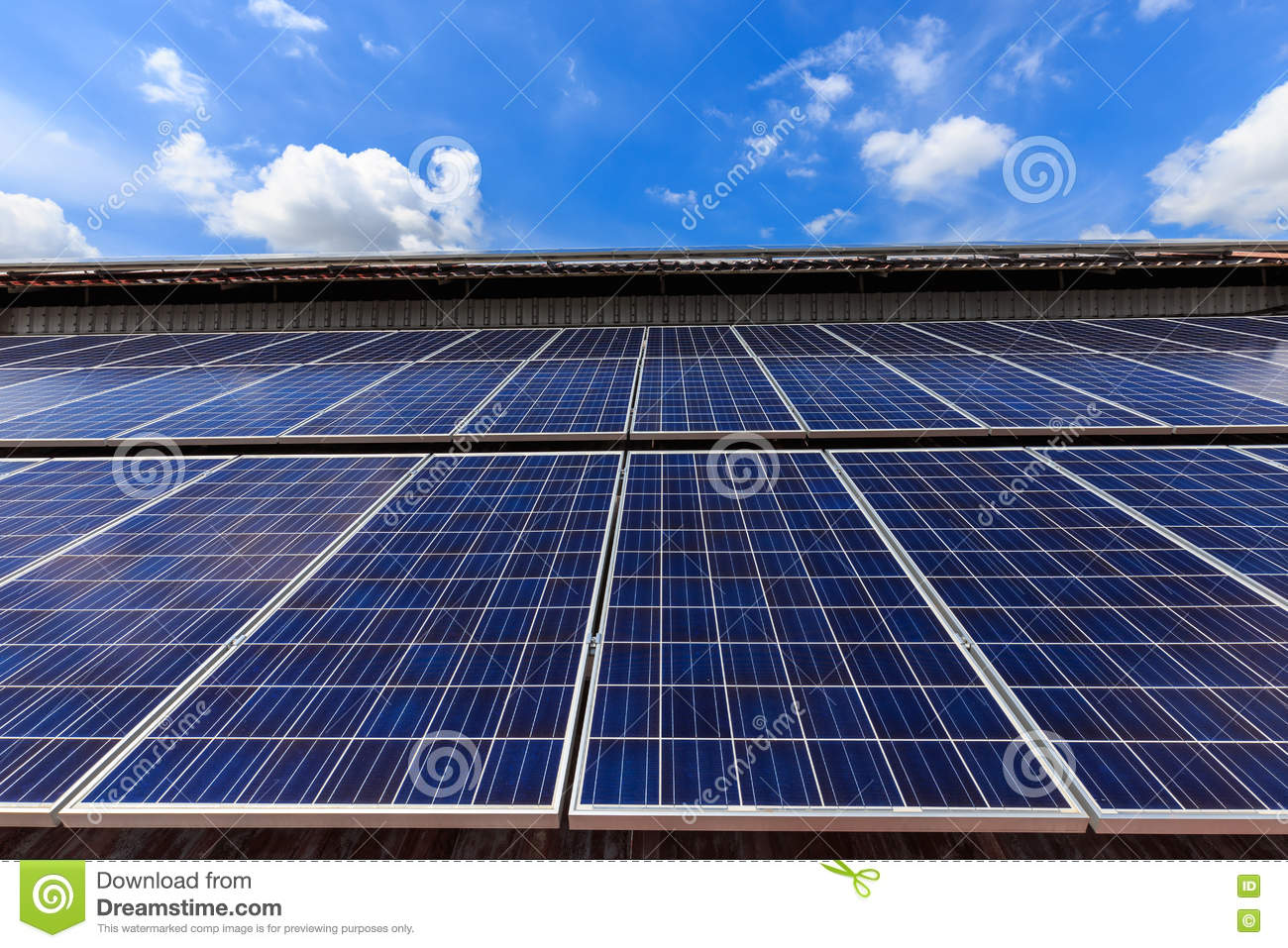 Solar Cell On Roof Top Against Blue Sunny Sky Stock Image ...