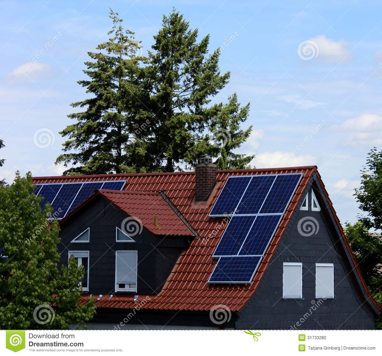Solar Cells On A Roof Stock Photo - Image: 31733280