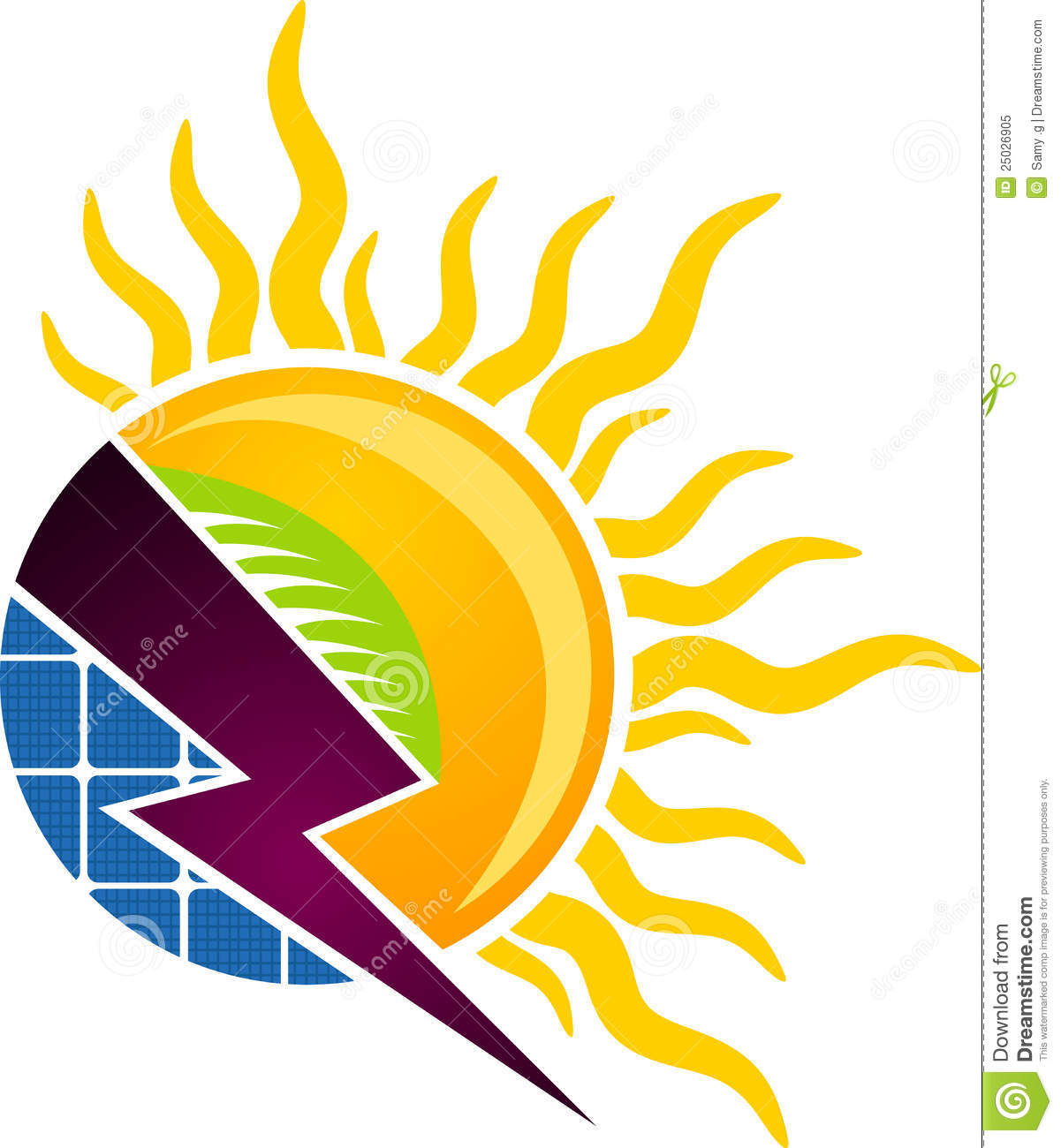 Illustration art of a solar concept logo with isolated background.