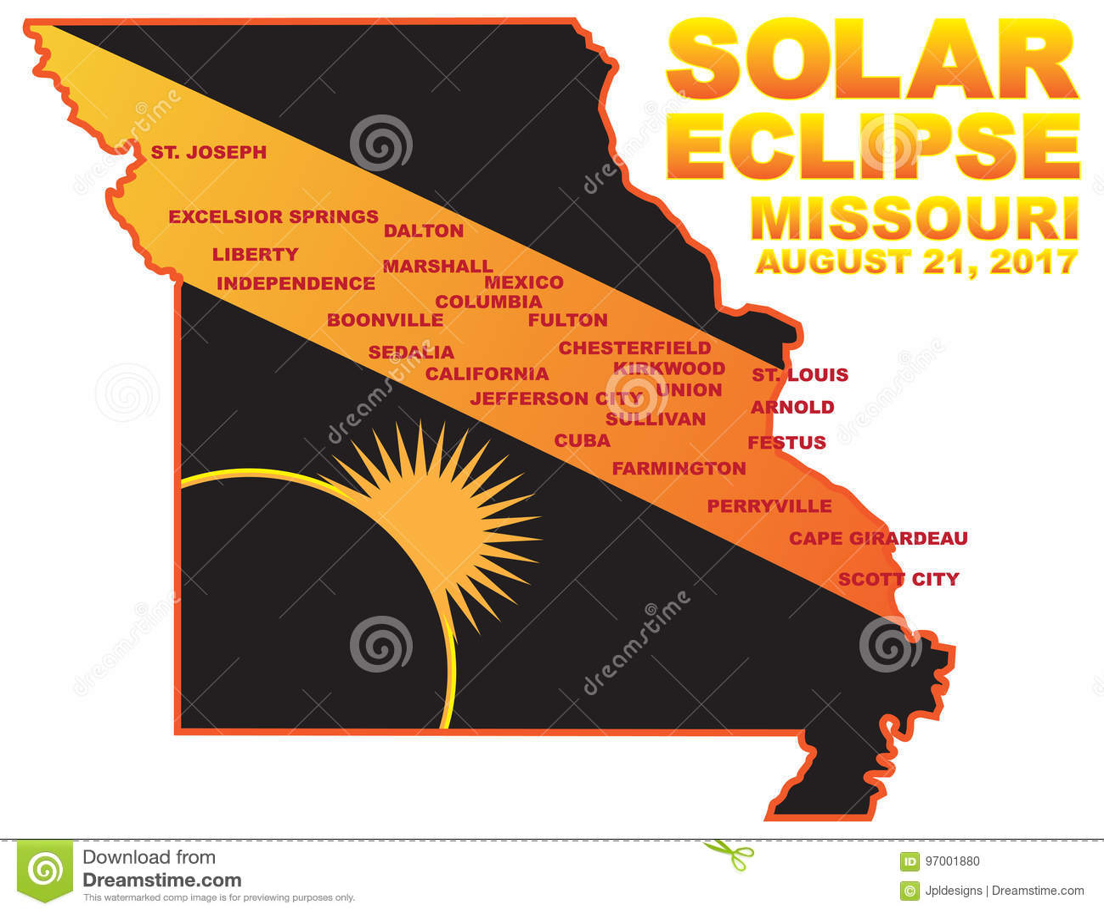 2017 Solar Eclipse Across Missouri Cities Map Vector Illustration
