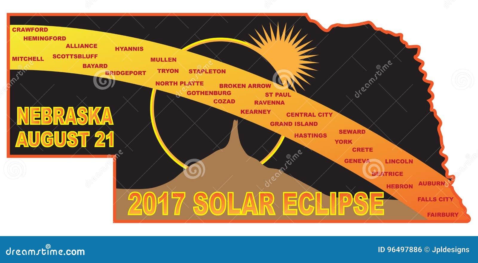 2017 Solar Eclipse Across Nebraska Cities Map Vector Illustration