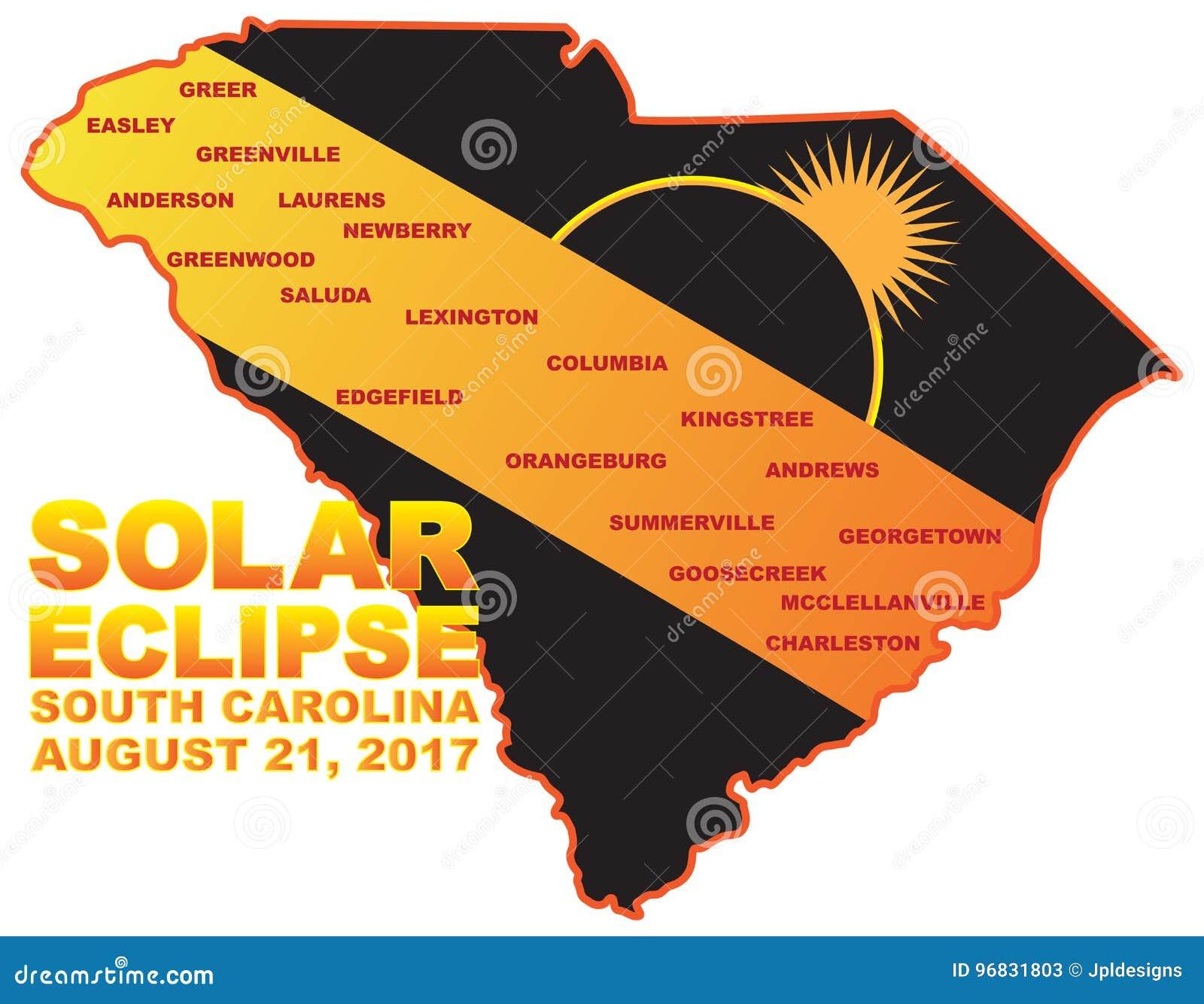 Solar Eclipse Across South Carolina Cities Map Illustration - South carolina cities map
