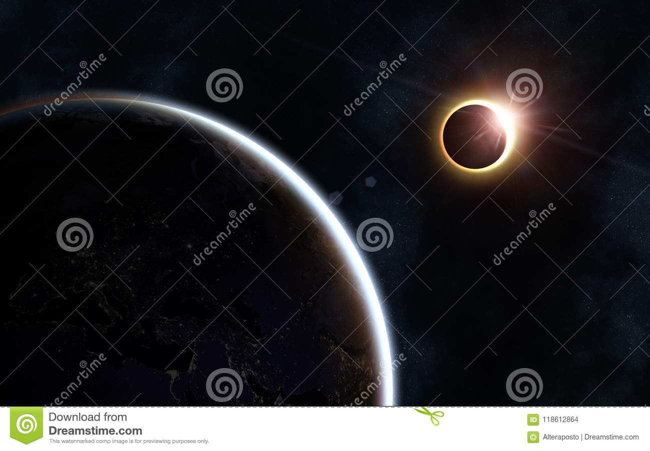 Solar Eclipse Earth And Moon Beautiful Space Landscape Stock