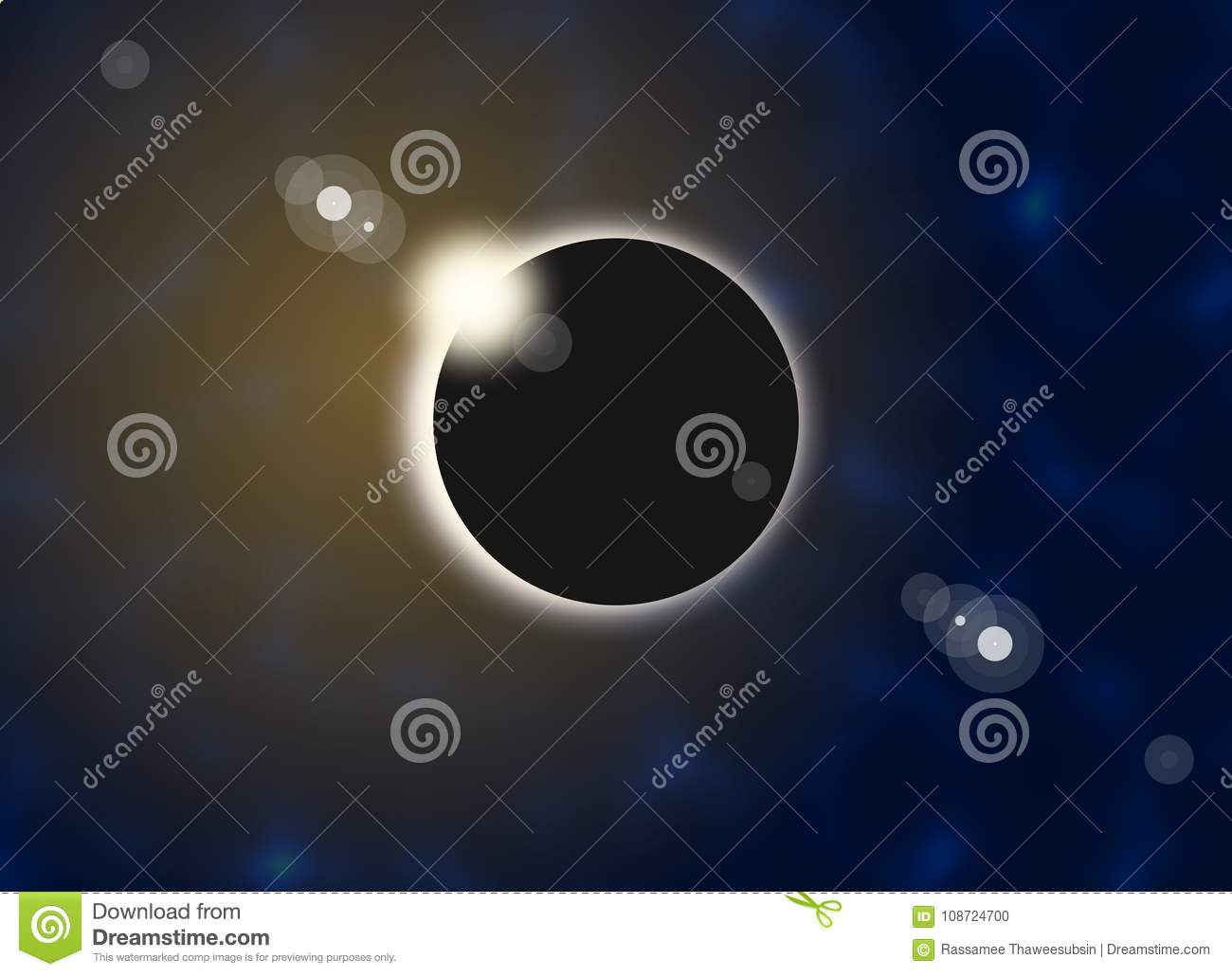 Solar eclipse and flare in the sky illustrations