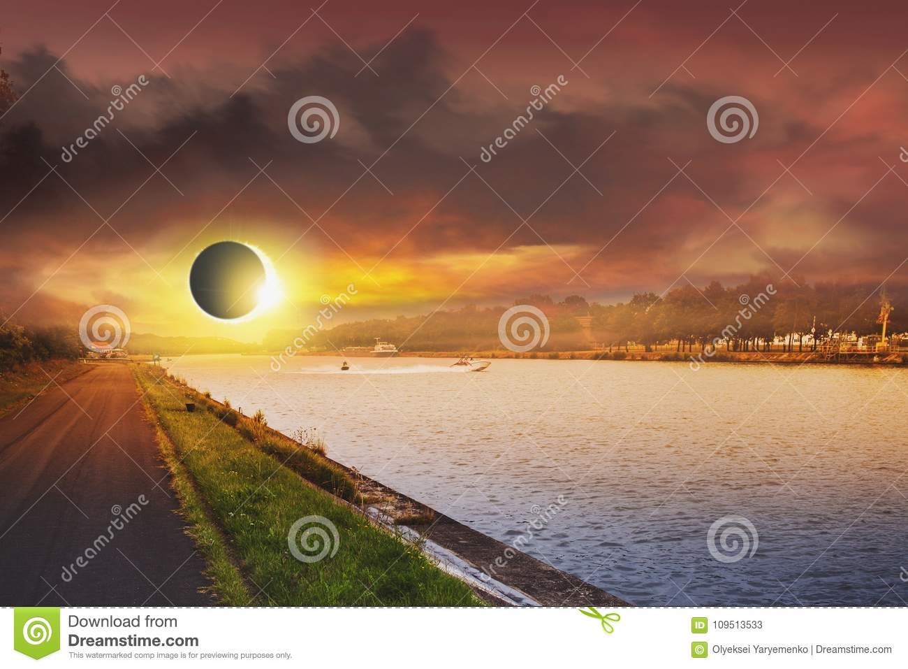 Space Solar Eclipse. Solar system, Solar flare,Total Eclipse