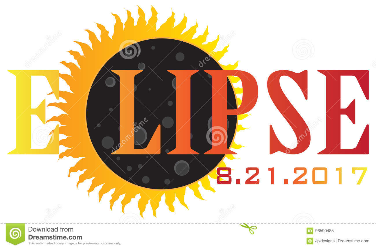 2017 Solar Eclipse Text Abstract vector Illustration