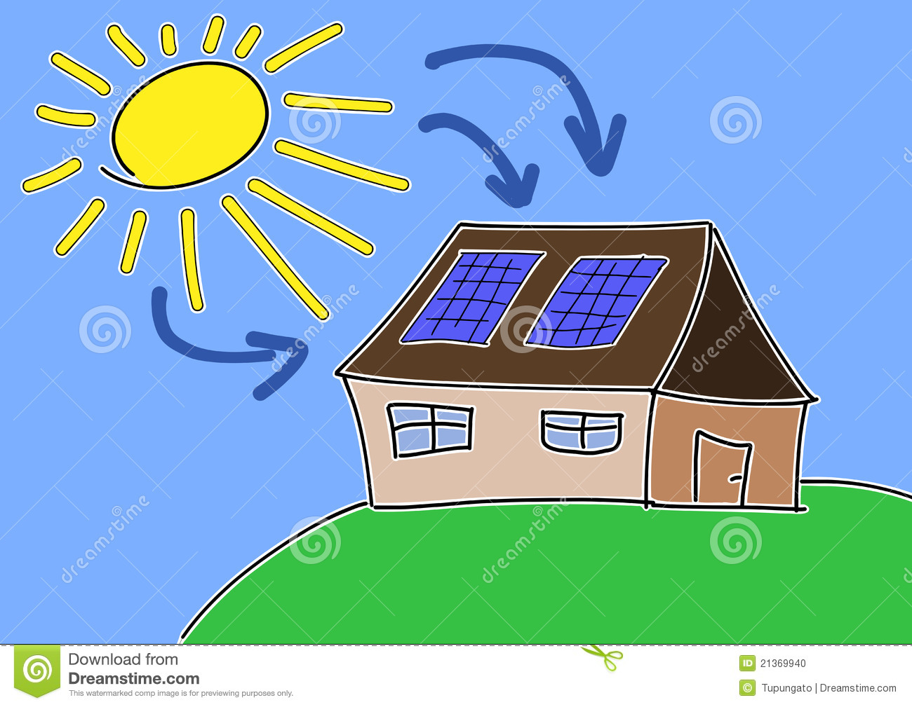 ... concept. Renewable sun power with photovoltaic cells on house roof