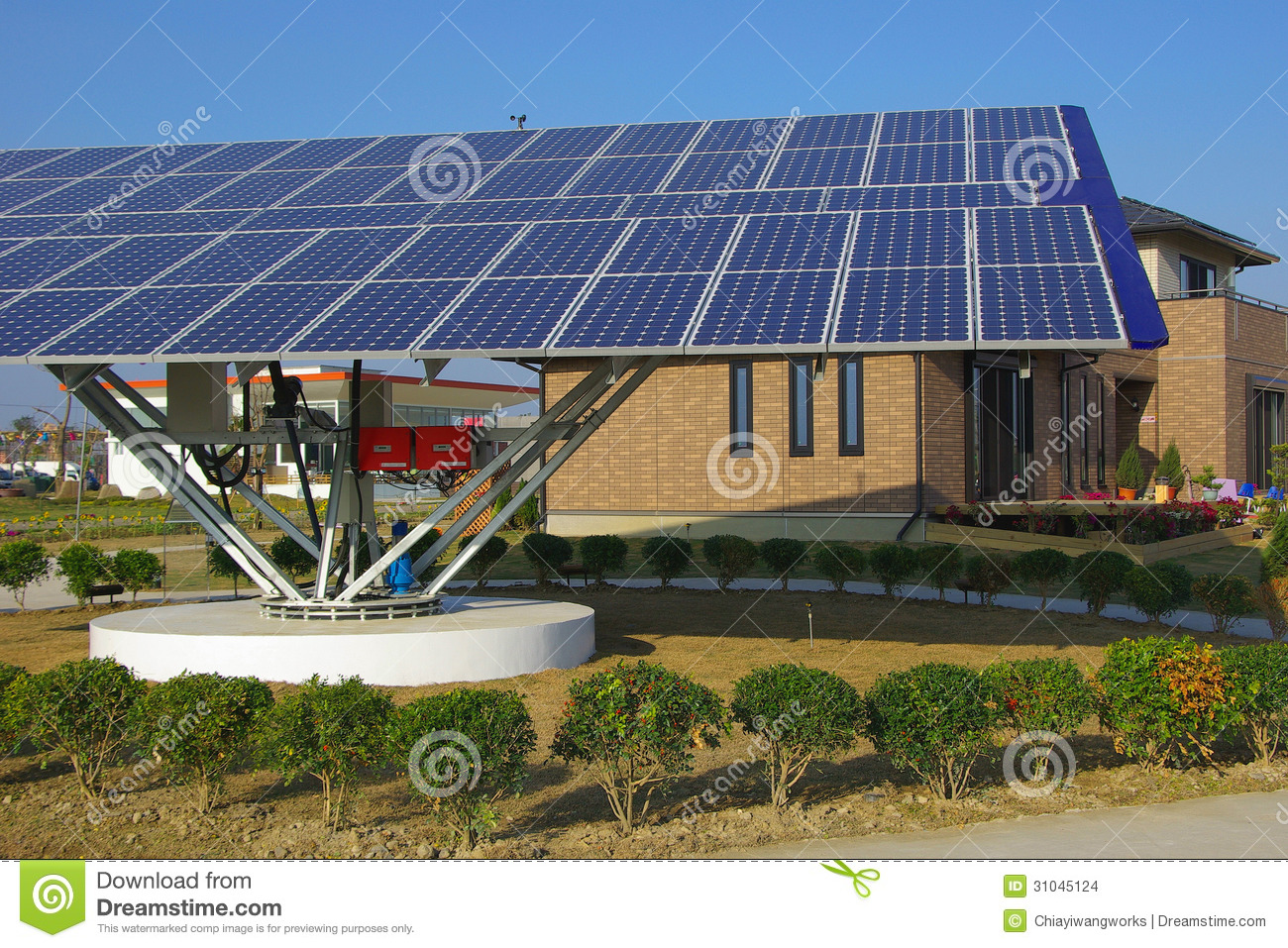 The Contemporary Solar energy equipment with Solar panels.