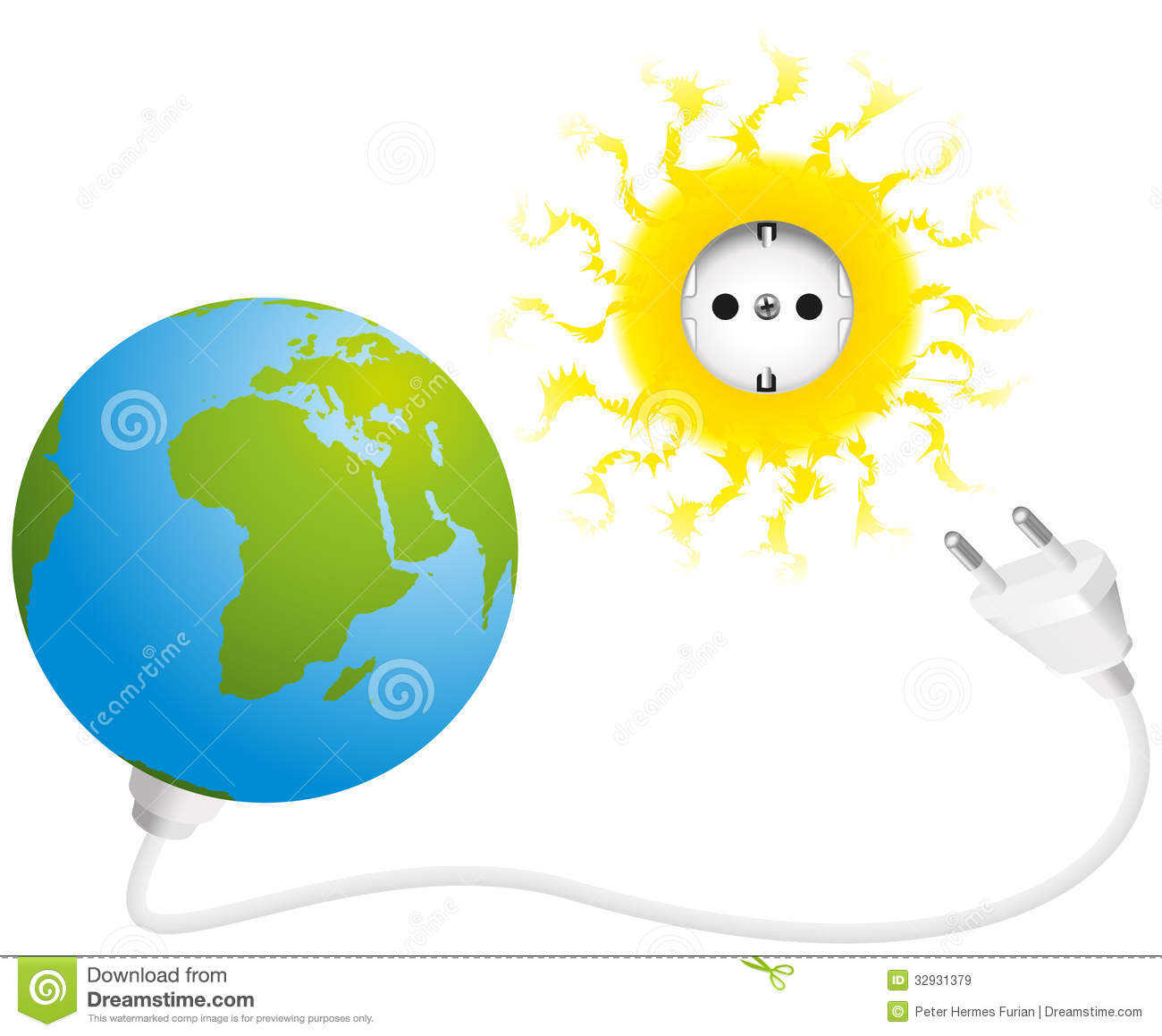Illustration of sun, earth, socket and plug, a symbol for solar energy ...