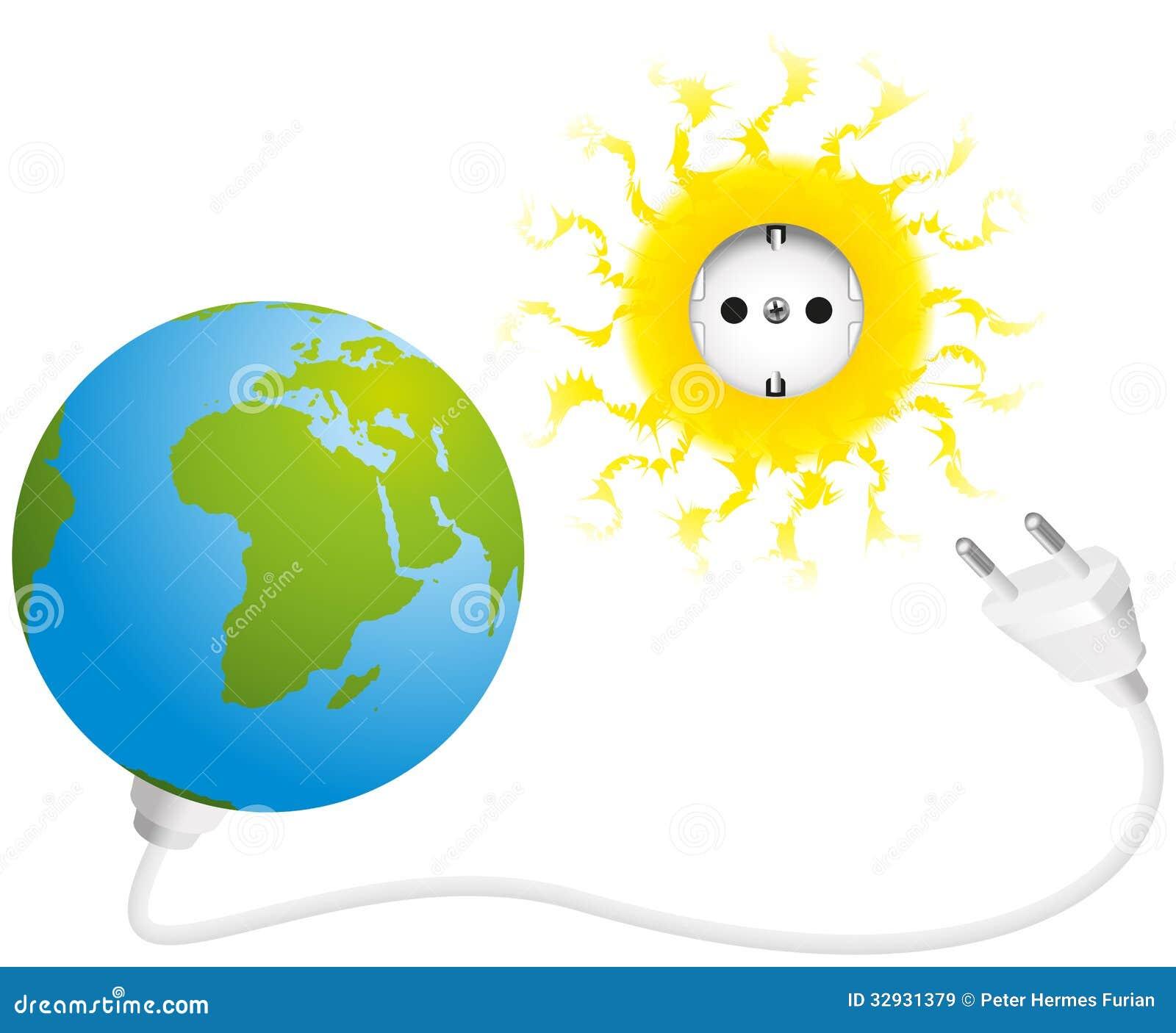 Illustration of sun, earth, socket and plug, a symbol for solar energy ...