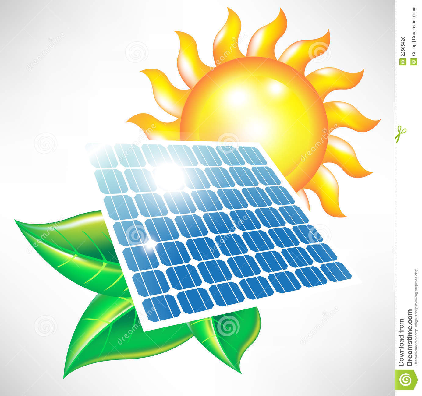 Solar Energy Panel With Sun And Leaves Stock Photo Image