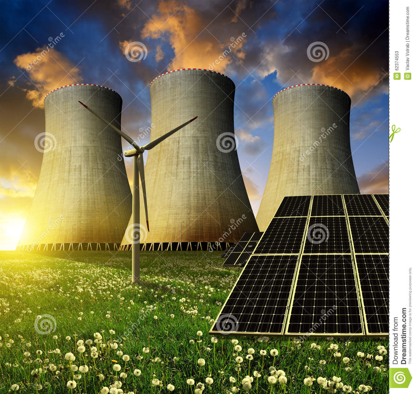 Solar Energy Panels Wind Turbine And Nuclear Power Plant