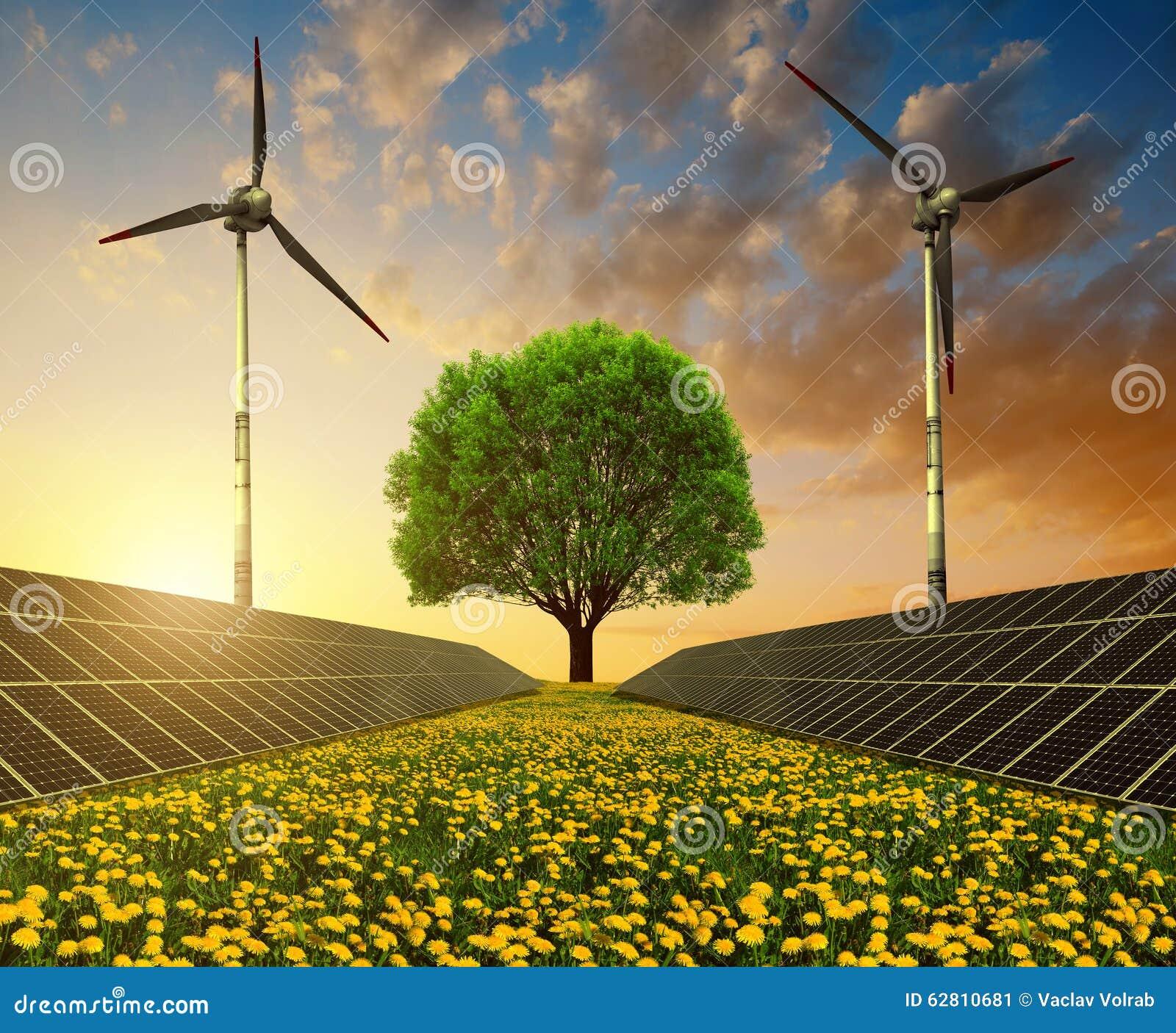 Solar Energy Panels Wind Turbines And Tree On Dandelion