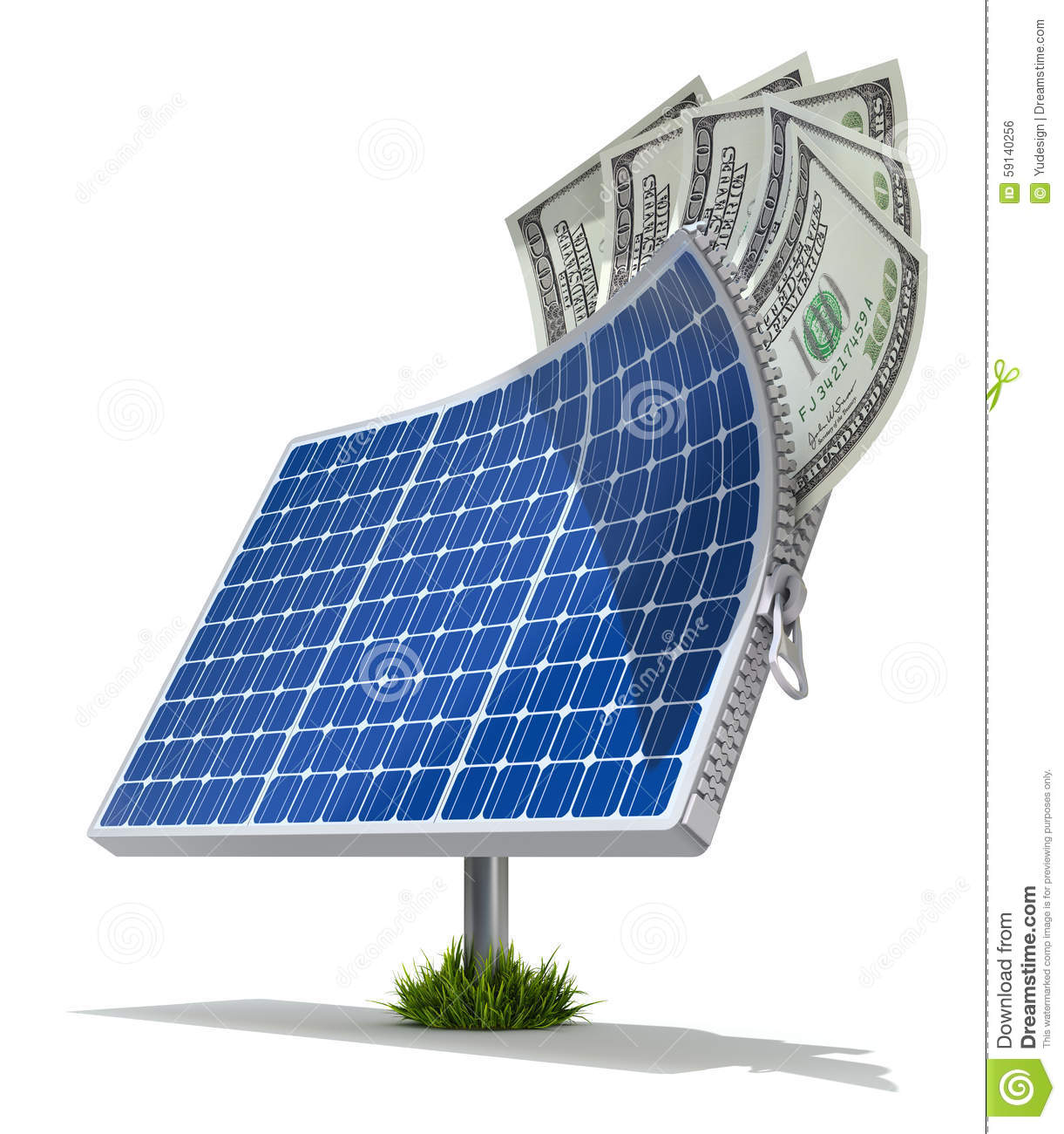 Solar Panel Yearly Savings: Solar Energy Saving Concept Stock Illustration