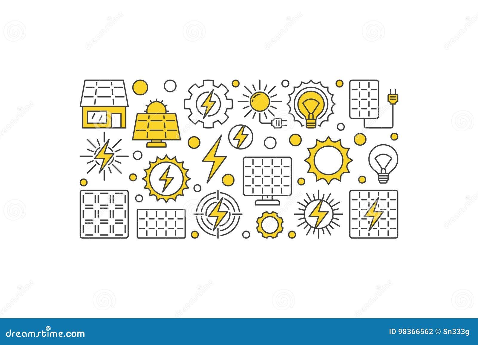Solar Energy Vector Illustration  Sun Eco Energy Creative