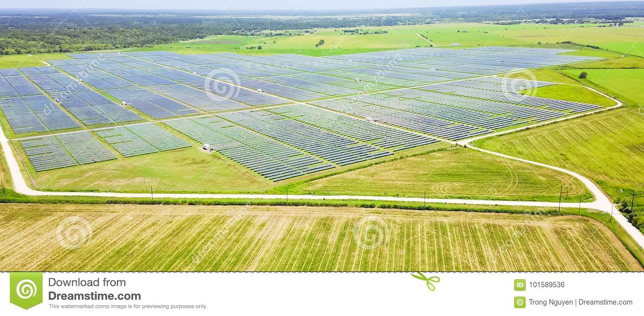 Solar Farm Aerial In Austin Texas Usa Stock Photo