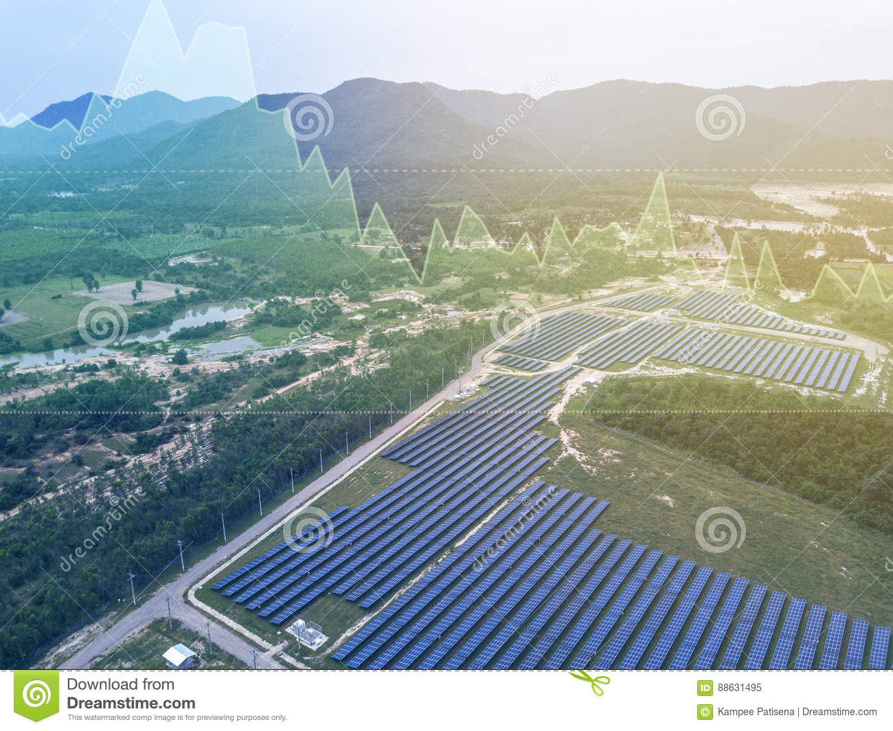Solar farm background with investment market stock double exposure concept
